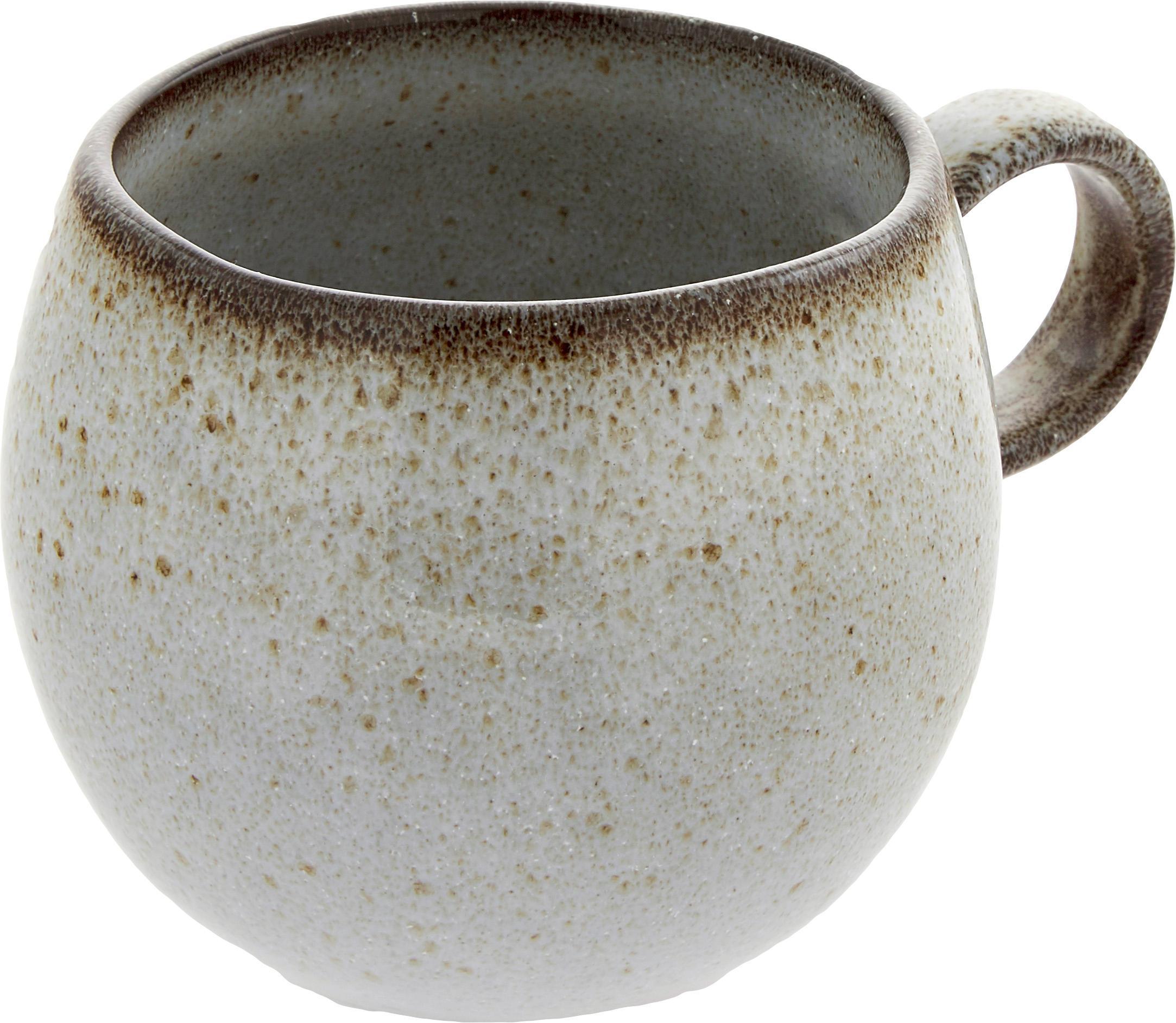 Ręcznie wykonany kubek Sandrine, Ceramika, Odcienie beżowego, Ø 10 x W 10 cm