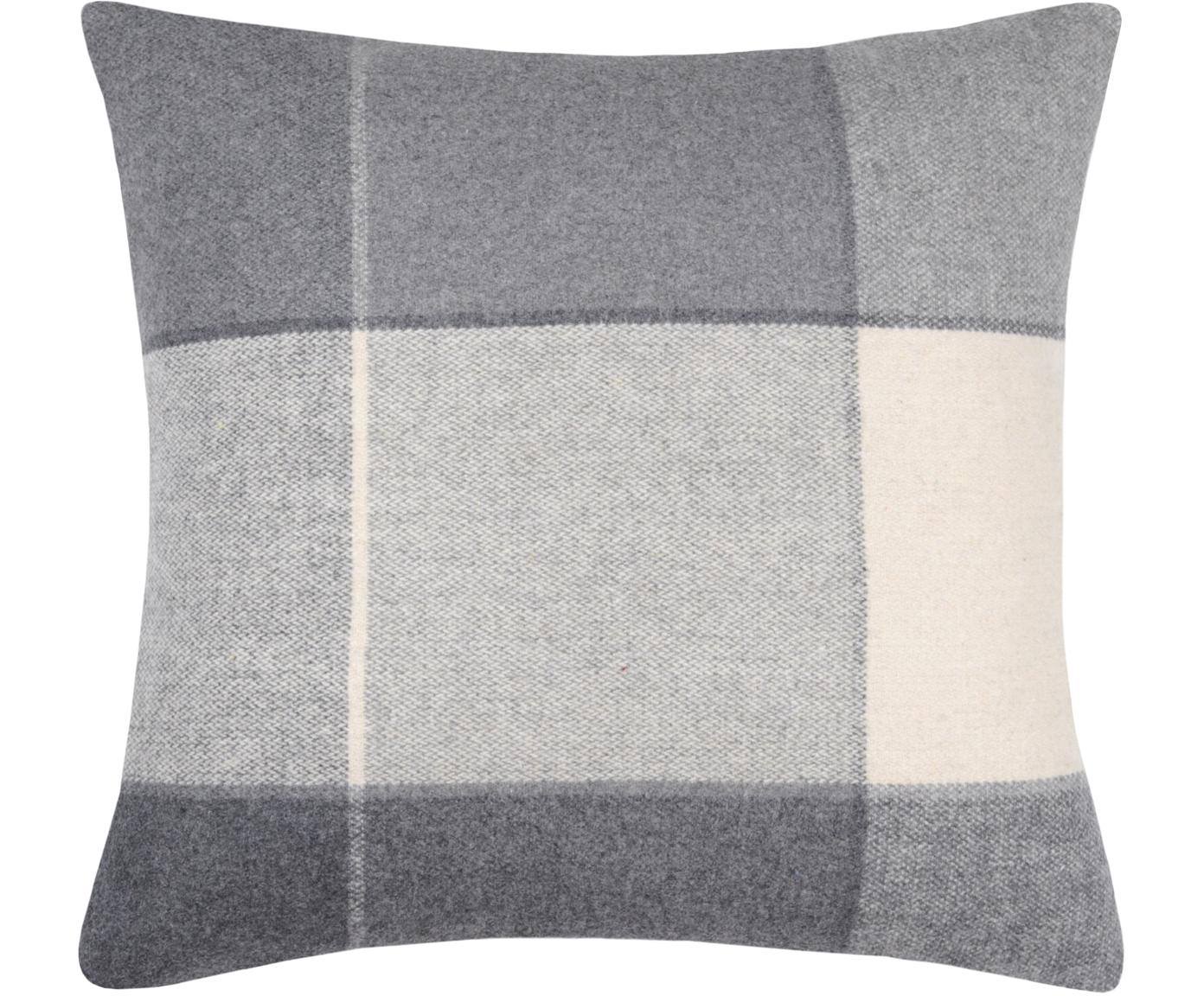 Kissenhülle Courchevel, 95% Polyester, 5% Wolle, Grau, Creme, 40 x 40 cm