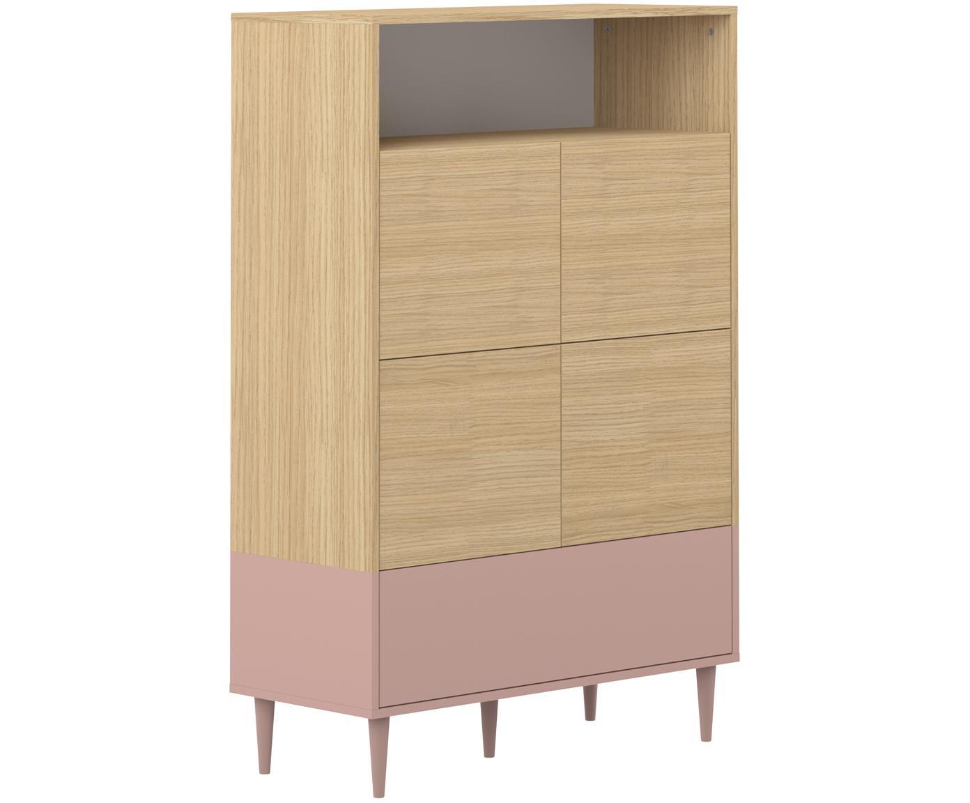 Wysoka komoda scandi Horizon, Korpus: płyta wiórowa pokryta mel, Nogi: lite drewno bukowe, lakie, Drewno dębowe, brudny różowy, S 90 x W 141 cm