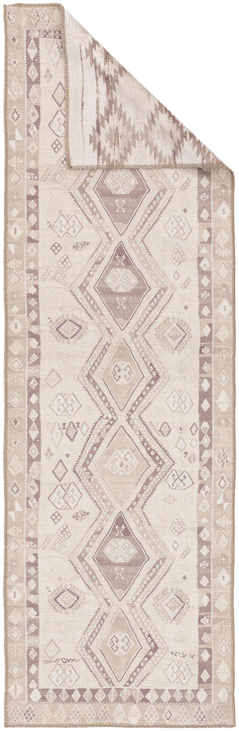 Dubbelzijdige loper Kelim Ana Aztec met ethnopatroon in beige, 80% polyester 20% katoen, Beige, taupe, 75 x 230 cm