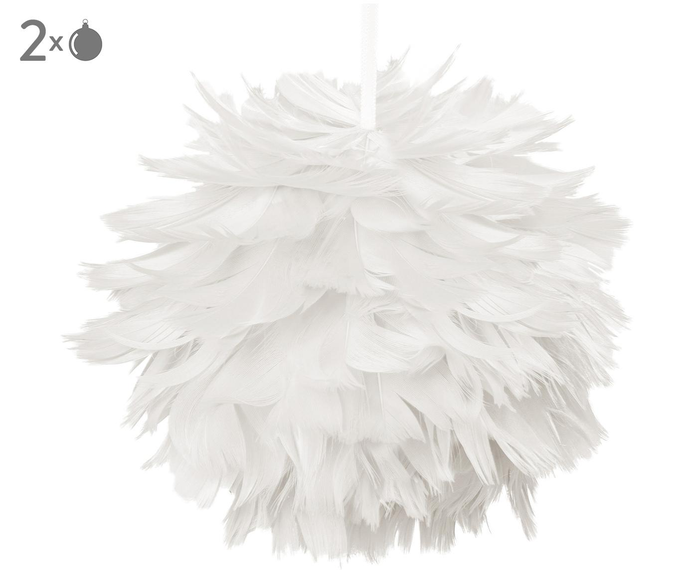 Baumanhänger Fay, 2 Stück, Weiß, Ø 11 cm