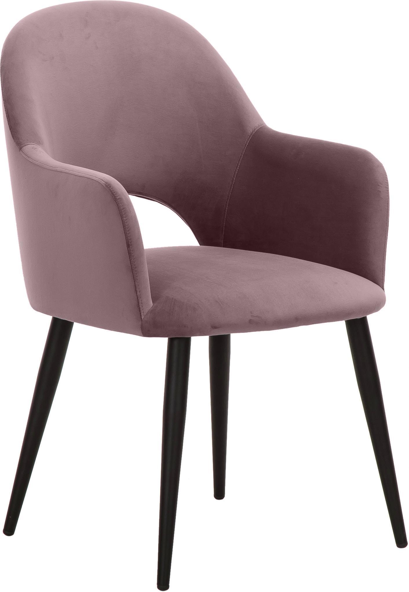 Krzesło z podłokietnikami z aksamitu Rachel, Tapicerka: aksamit (poliester) 5000, Nogi: metal malowany proszkowo, Aksamitny mauve, S 47 x G 64 cm