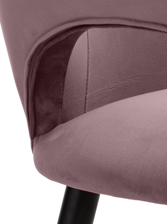 Samt-Armlehnstuhl Rachel, Bezug: Samt (Polyester) 50.000 S, Beine: Metall, pulverbeschichtet, Samt Mauve, B 47 x T 64 cm