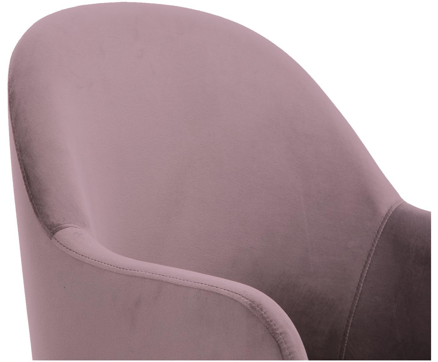 Fluwelen armstoel Rachel, Bekleding: fluweel (polyester), Poten: gepoedercoat metaal, Mauve, B 47 x D 64 cm