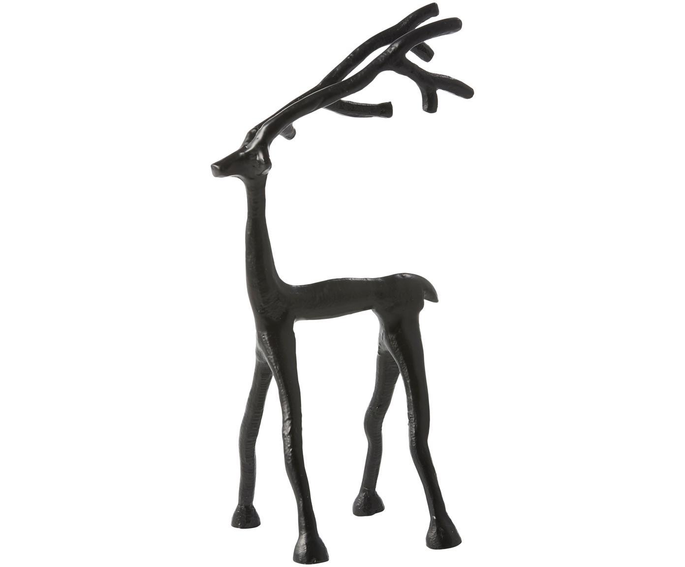 Oggetto decorativo Marley Reindeer, Alluminio rivestito, Nero, Larg. 14 x Alt. 27 cm
