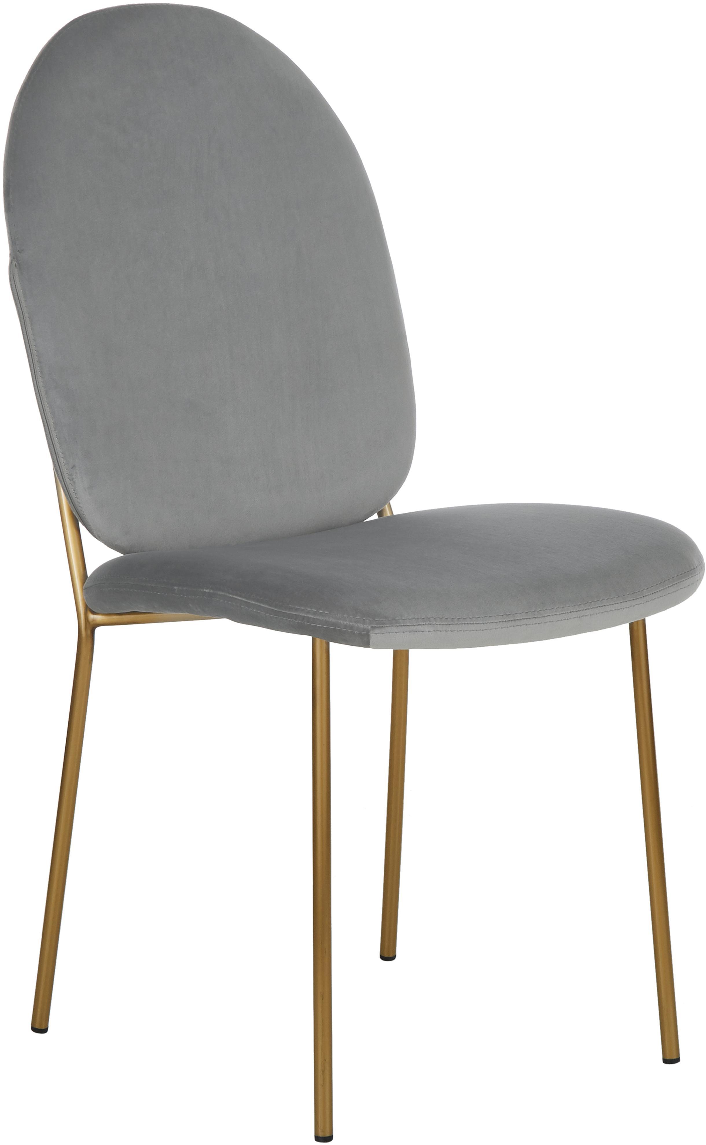 Samt-Polsterstuhl Mary, Bezug: Samt (Polyester) 15.000 S, Beine: Metall, beschichtet, Grau, B 44 x T 65 cm