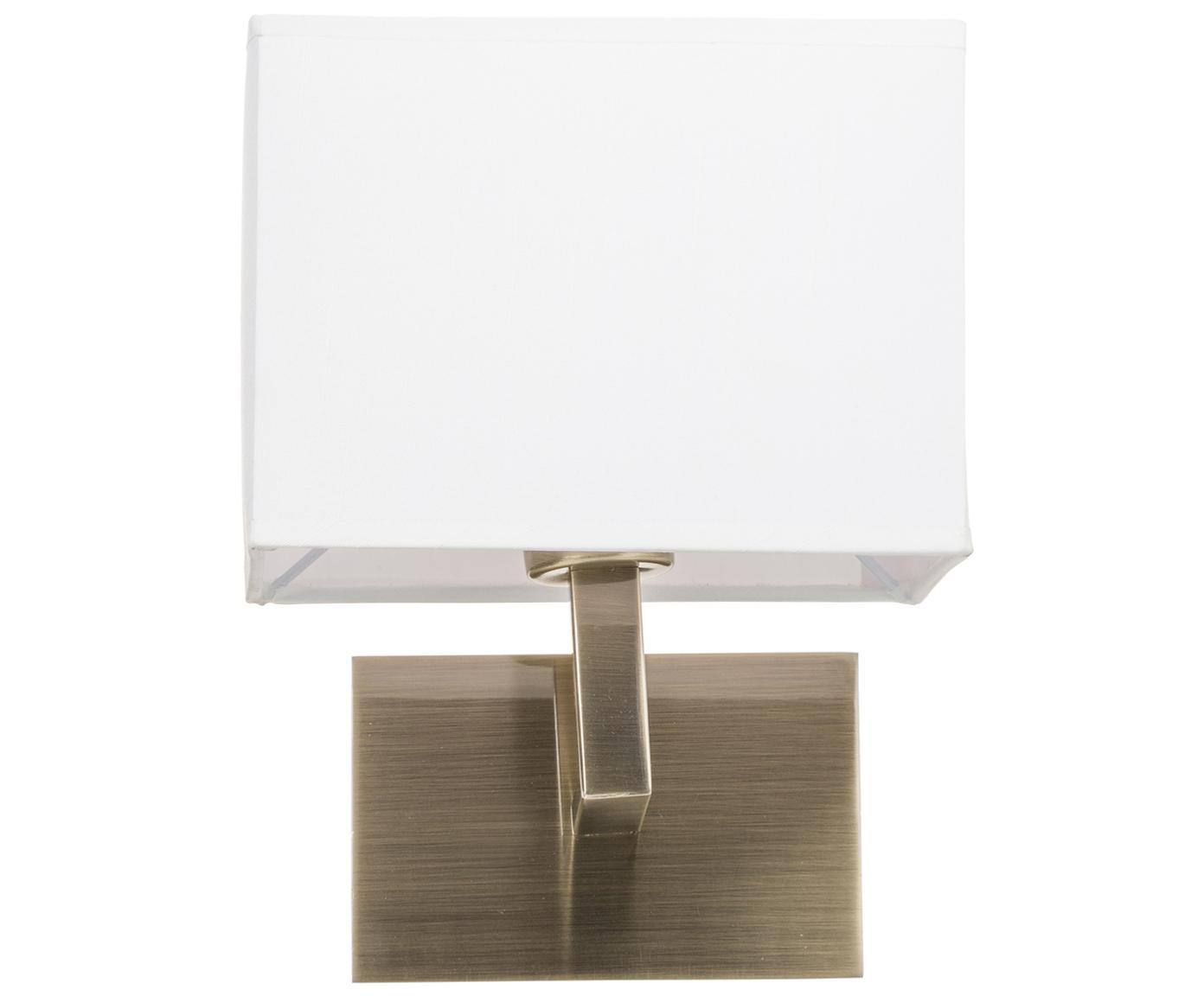 Applique Prague, Paralume: tessile, Bianco, ottonato, Larg. 20 x Alt. 25 cm