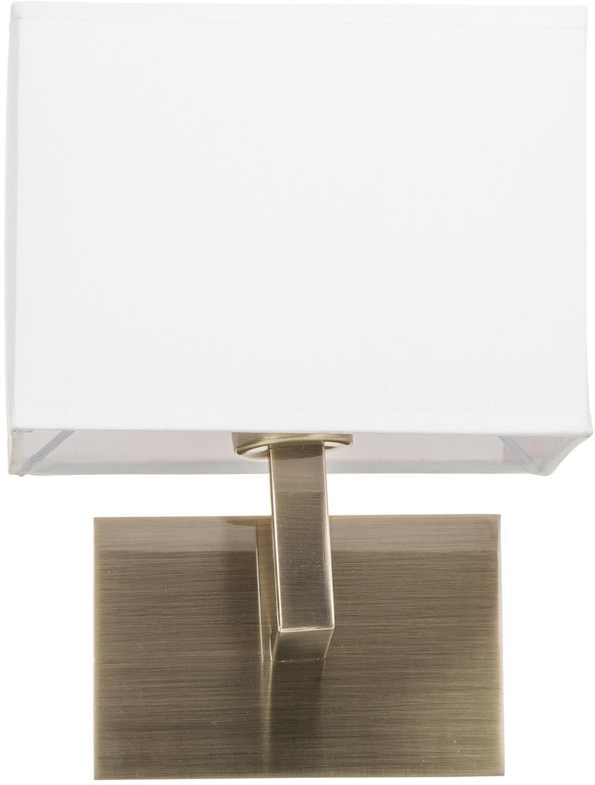 Wandleuchte Lina, Lampenschirm: Textil, Weiß, Messingfarben, 20 x 25 cm