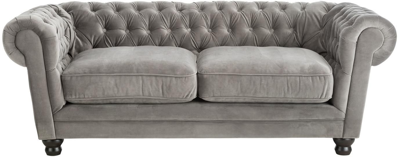 Divano Chesterfield 3 posti in velluto grigio Sally, Rivestimento: 100% poliestere, Piedini: legno massiccio; legno di, Struttura: base in legno, Velluto grigio, Larg. 203 x Alt. 79 cm