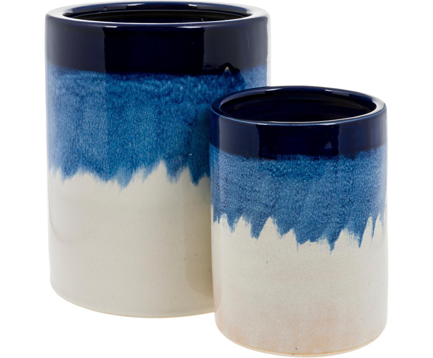 Plantenpottenset Bora van keramiek, 2-delig, Keramiek, Blauwtinten, gebroken wit, Set met verschillende formaten