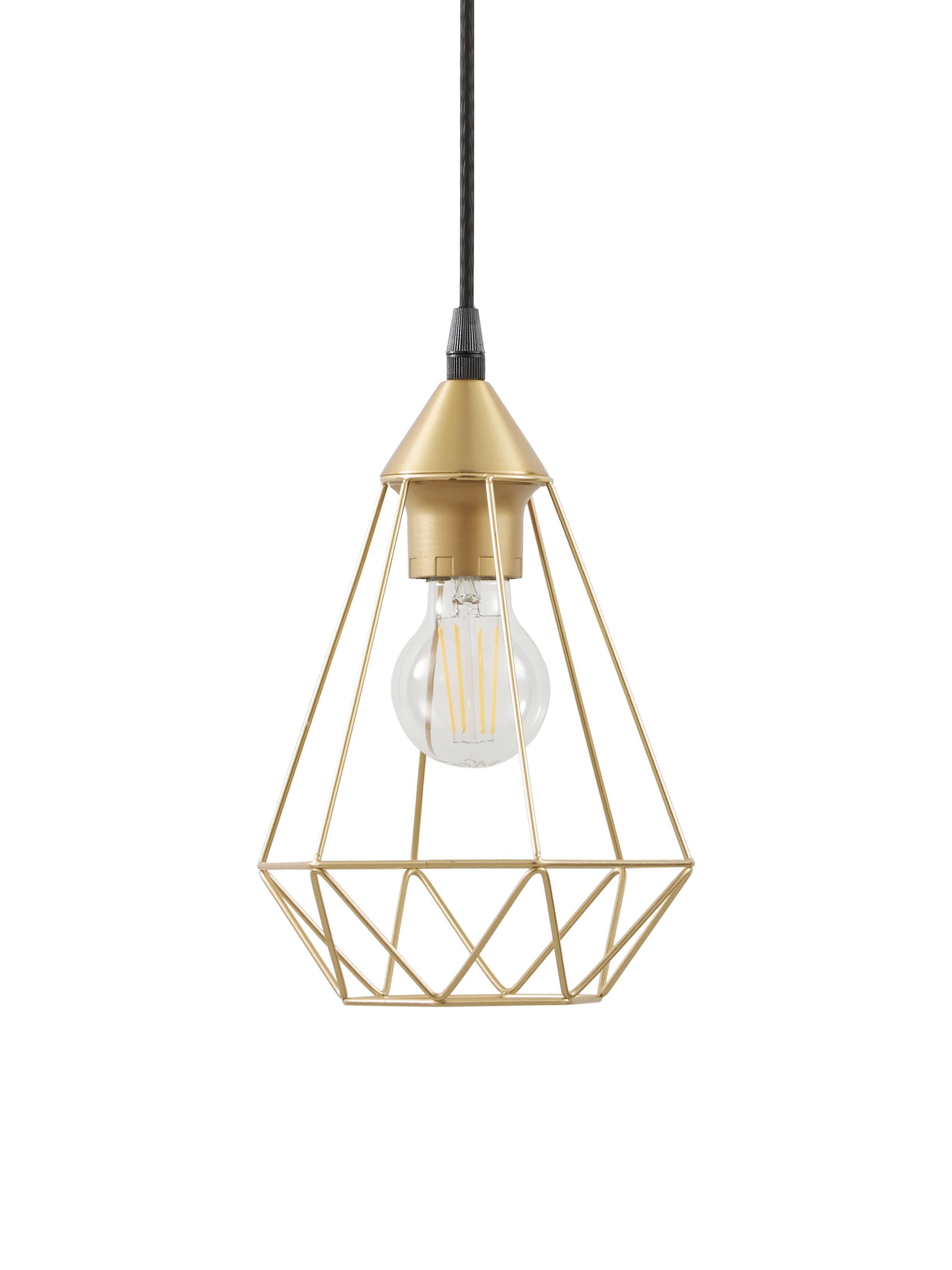 Lámpara de techo Kyle, Anclaje: metal cepillado, Pantalla: metal cepillado, Cable: cubierto en tela, Dorado, Ø 18 cm