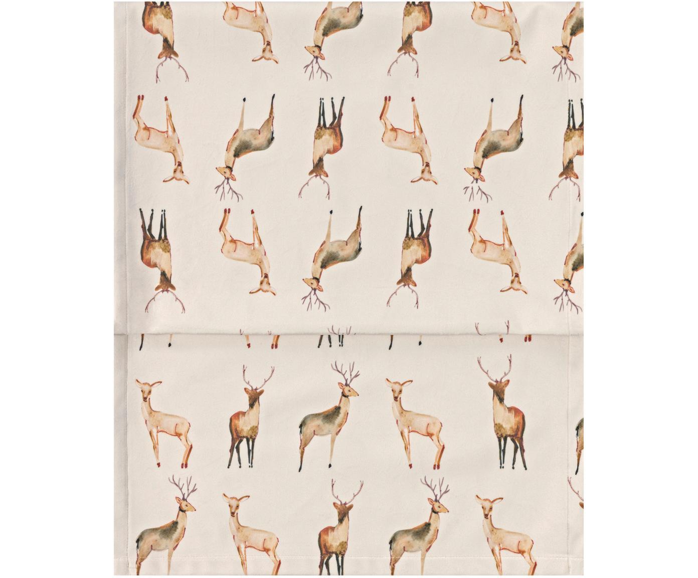Runner da tavolo in velluto con cervi Herde, Velluto di poliestere, Beige, tonalità blu, Larg. 40 x Lung. 145 cm