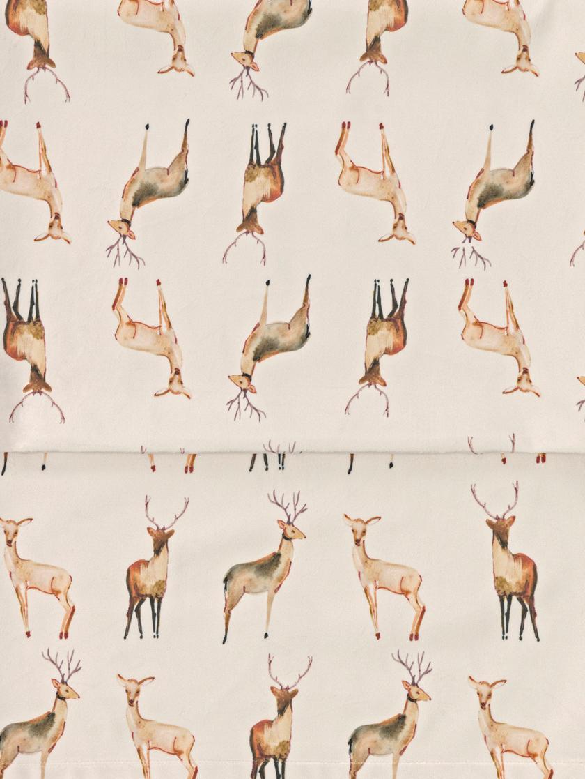 Samt-Tischläufer Herde mit Rehmotiven, 100% Polyestersamt, Beige, Brauntöne, 40 x 145 cm