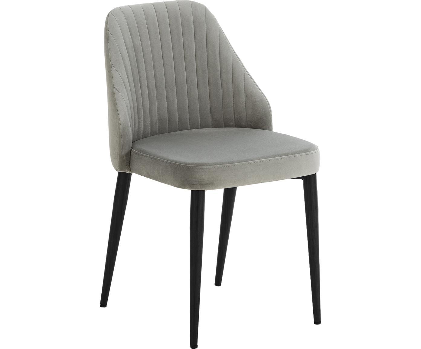 Fluweel gestoffeerde stoelen Lucie, 2 stuks, Bekleding: fluweel (100% polyester), Poten: metaal in walnoothout loo, Grijs, B 45  x D 57 cm