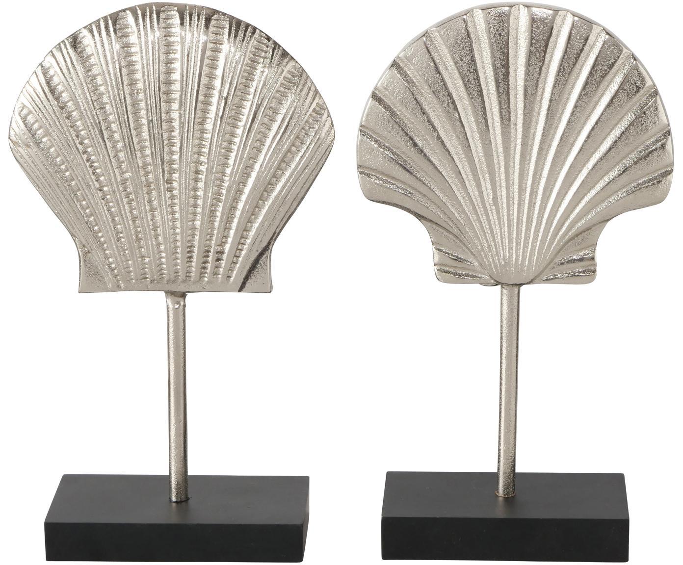 Deko-Objekte-Set Emmi, 2-tlg., Sockel: Holz, lackiert, Aluminium, Schwarz, 13 x 27 cm