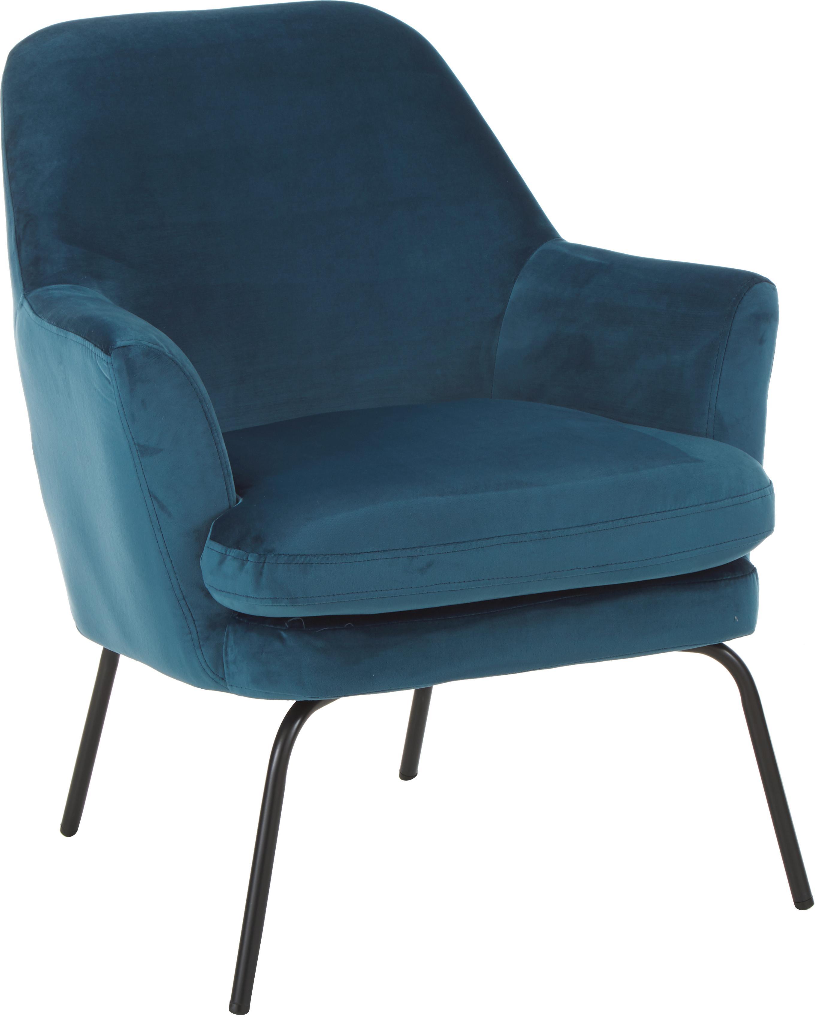 Sillón de terciopelo Chisa, Tapizado: poliéster efecto terciope, Patas: metal, pintura en polvo, Azul marino, An 58 x F 50 cm