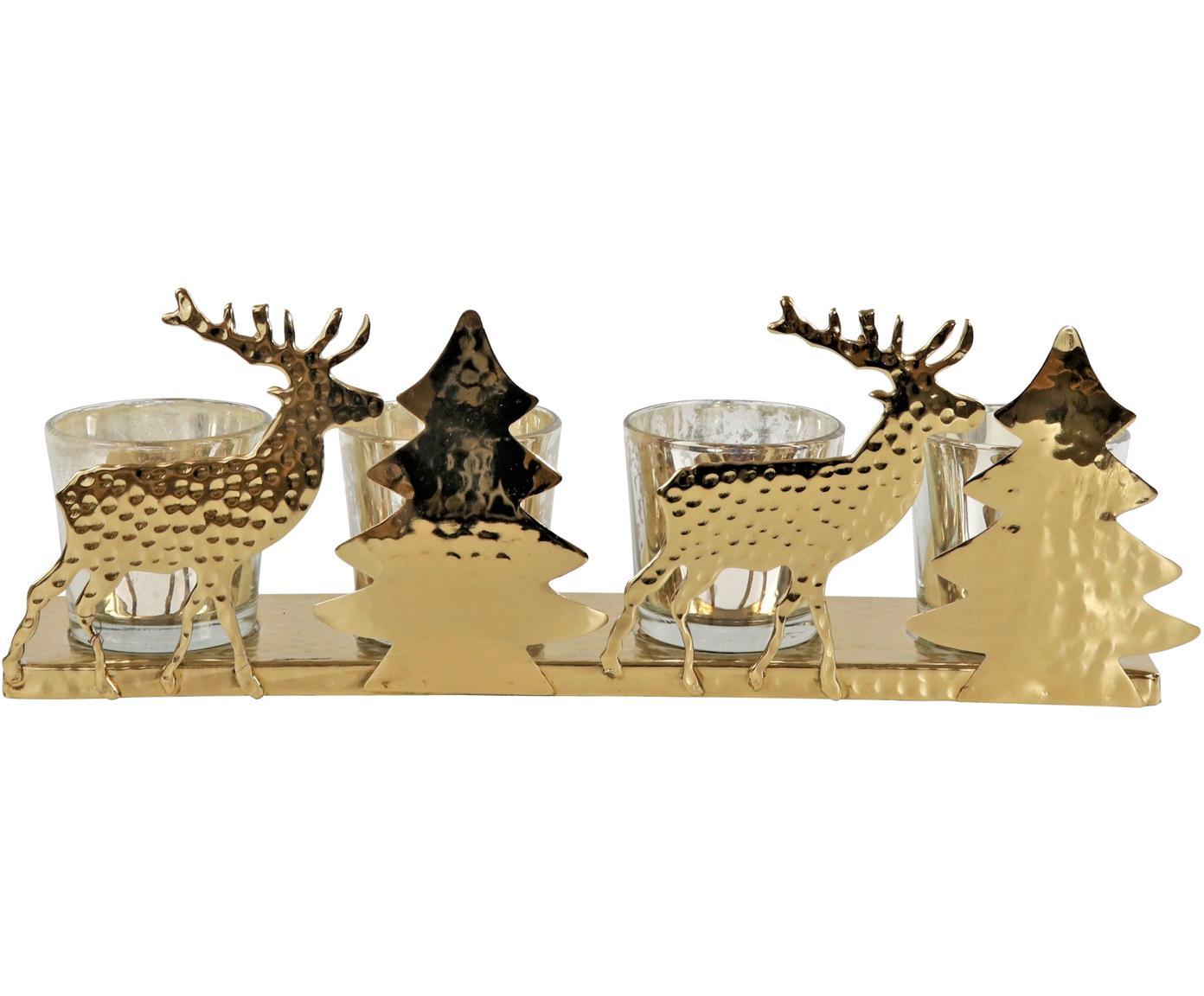 Portacandela Deer, Struttura: metallo rivestito, Dorato trasparente, Larg. 31 x Alt. 11 cm