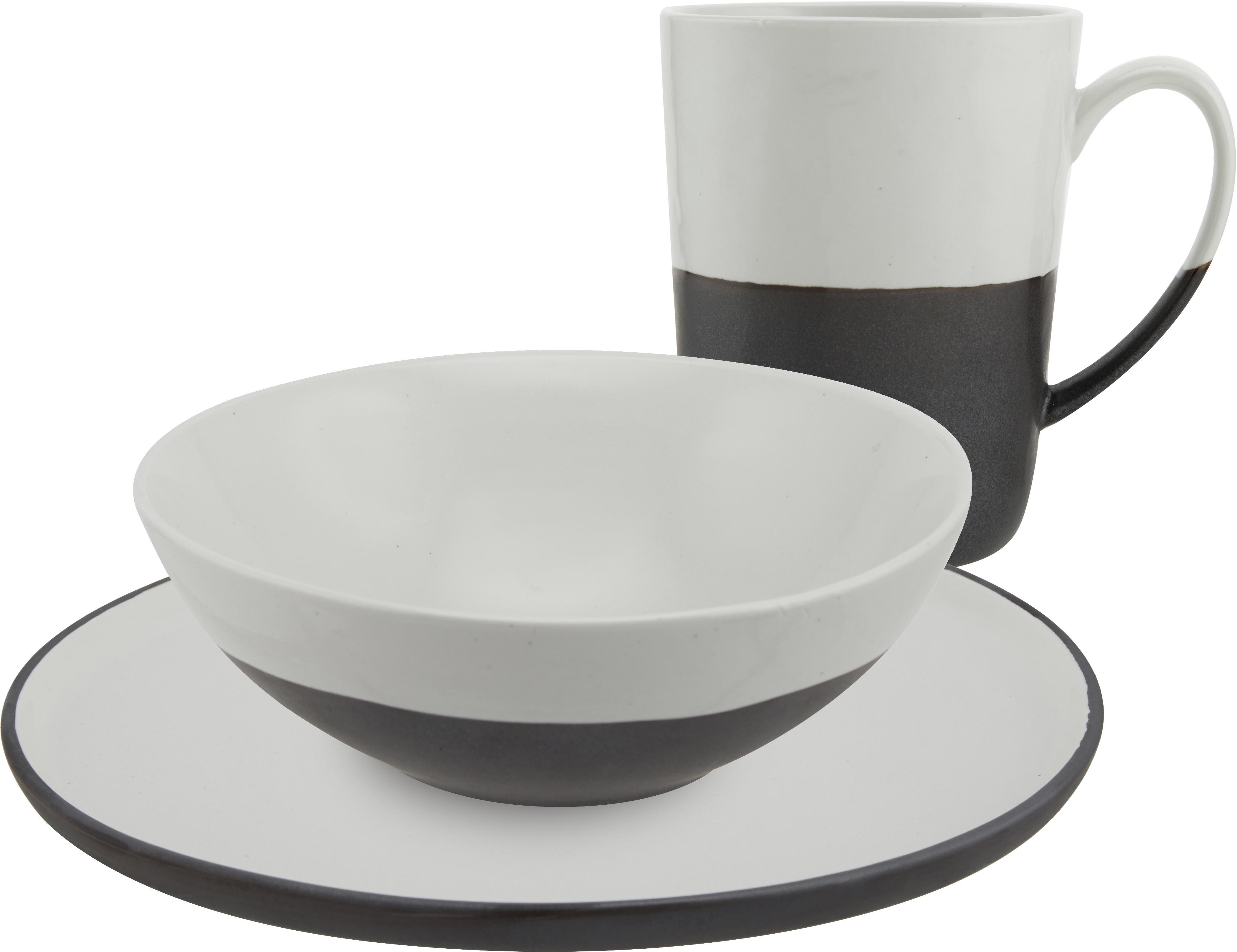 Set da colazione fatto a mano per 4 persone Esrum 12 pz, Sotto: terracotta naturale, Avorio, nero, Set in varie misure