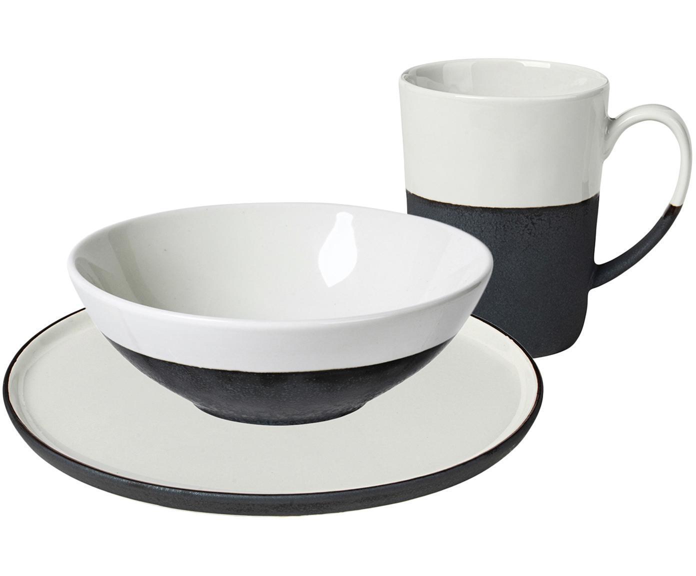 Set da colazione fatto a mano Esrum, set di 12, Sotto: terracotta naturale, Avorio, nero, Diverse dimensioni