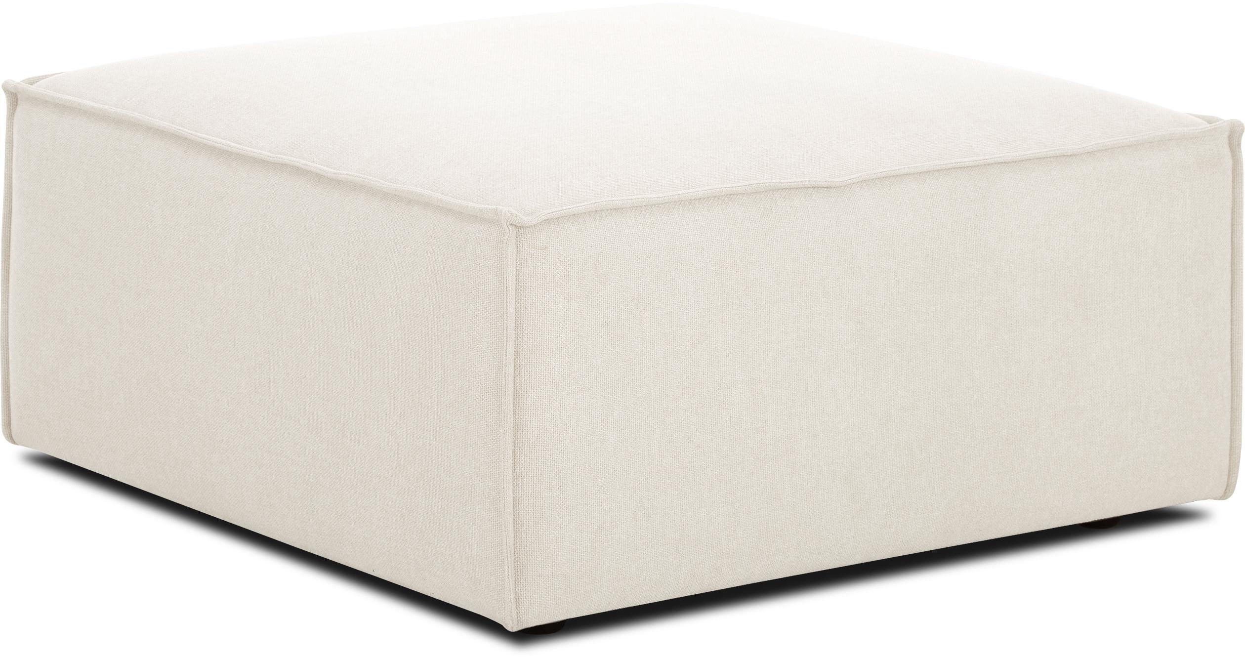 Voetenbank Lennon, Bekleding: polyester, Frame: massief grenenhout, multi, Poten: kunststof, Geweven stof beige, 88 x 43 cm