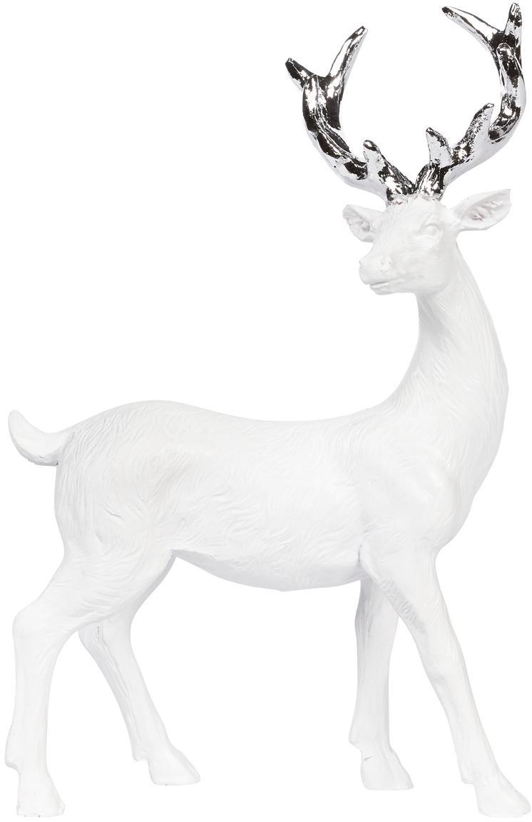 Figura decorativa artesanal Deer, Poliresina, Blanco, plateado, An 9 x Al 14 cm