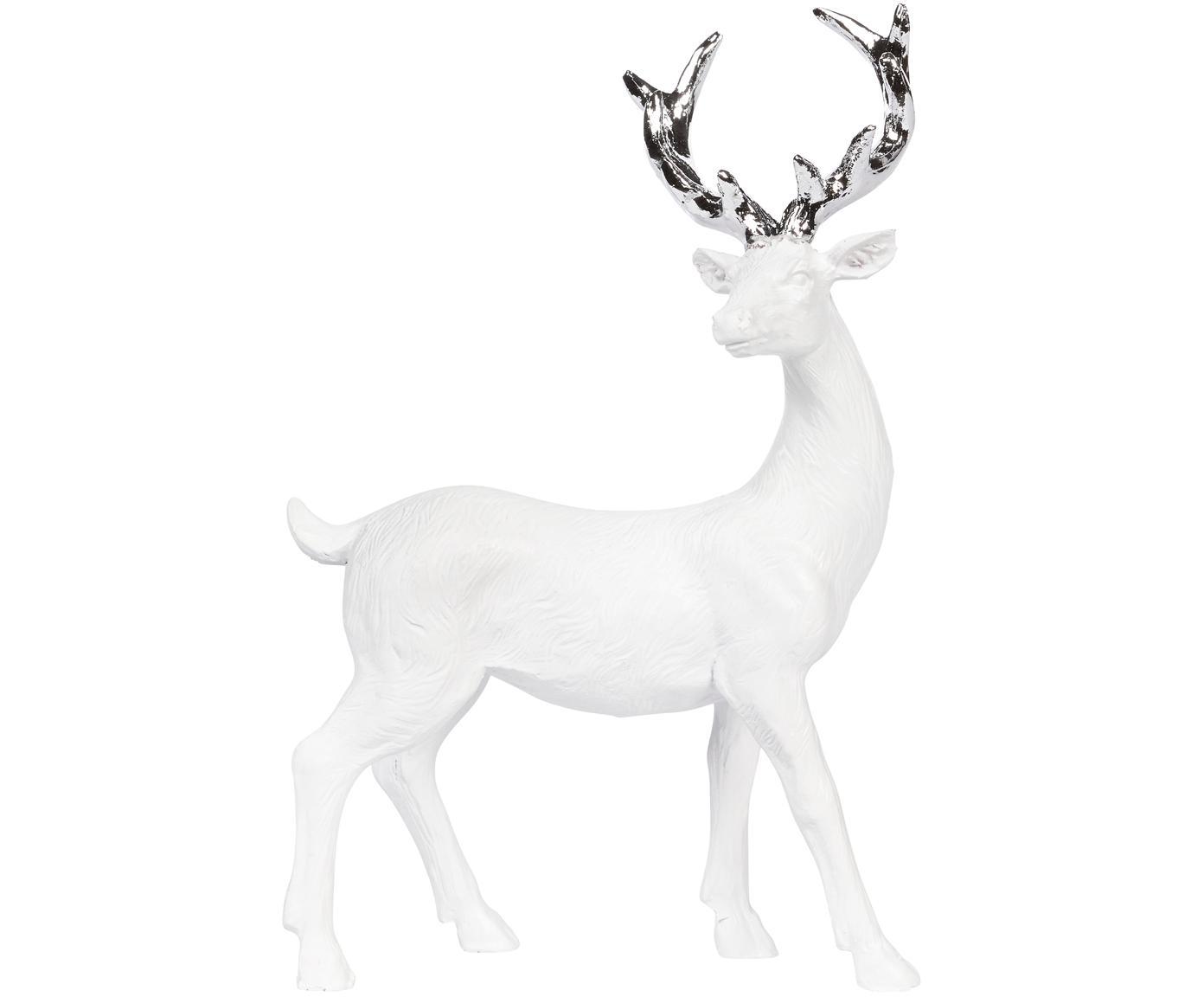 Handgefertigtes Deko-Objekt Deer, Polyresin, Weiss, Silberfarben, 9 x 14 cm