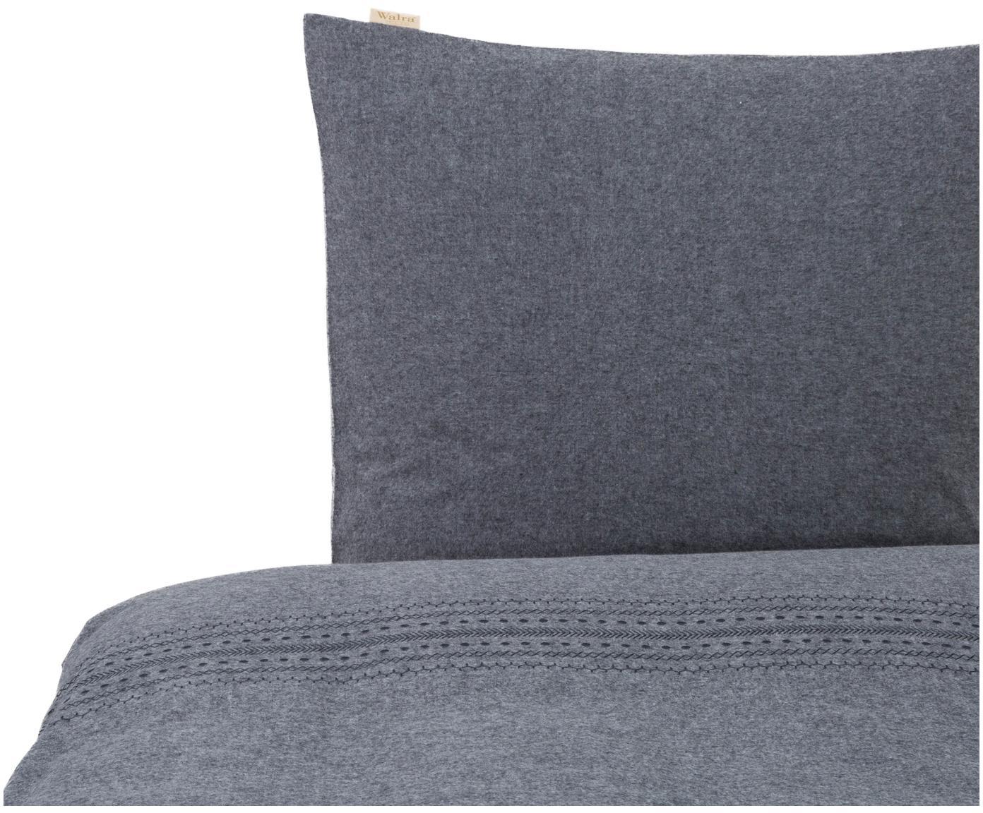 Flanell-Bettwäsche Pure Craft mit Stickerei, Webart: Flanell Flanell ist ein s, Grau, 135 x 200 cm + 1 Kissen 80 x 80 cm
