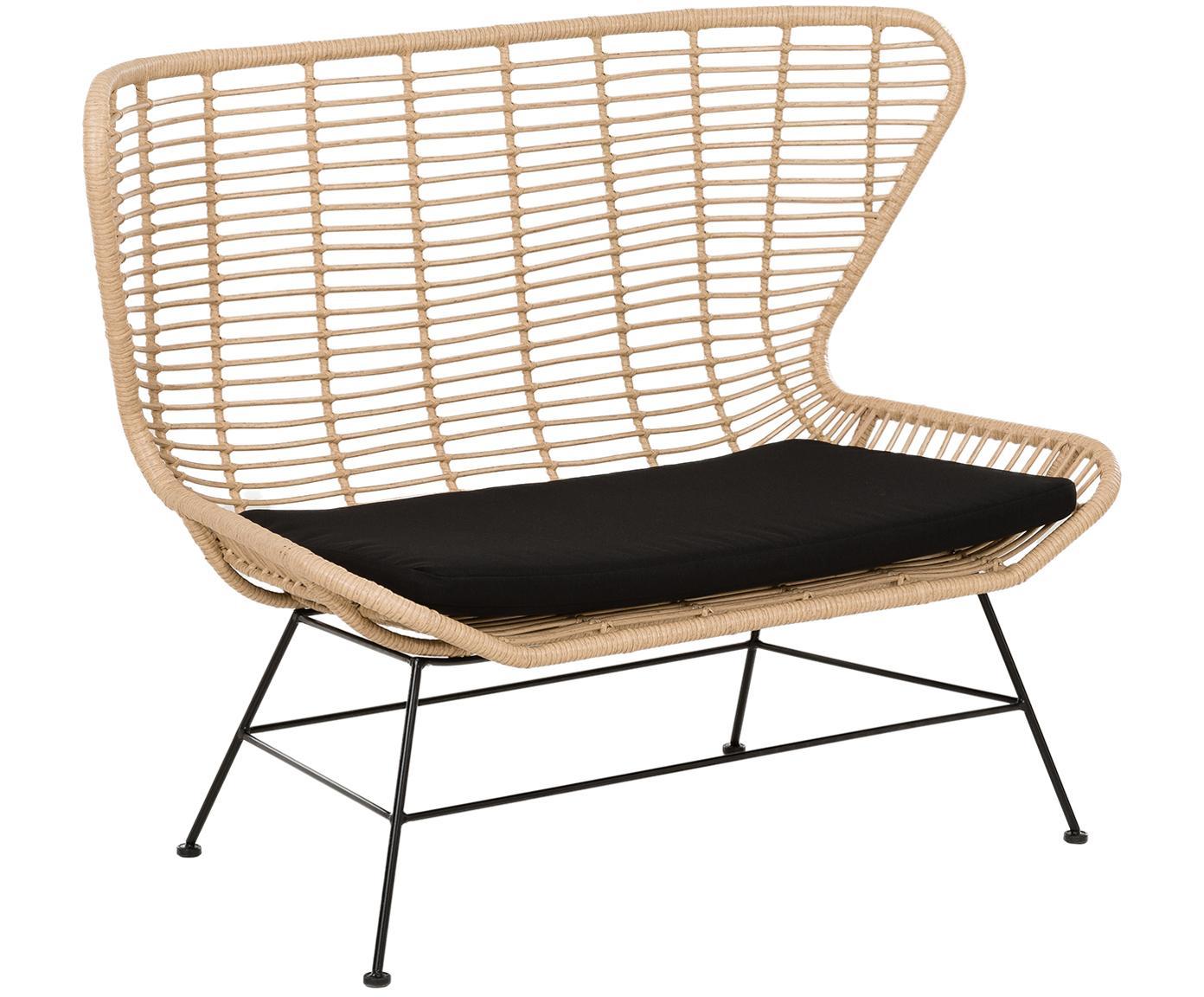 Garten-Sitzbank Costa mit Polyrattan, Sitzfläche: Polyethylen-Geflecht, Gestell: Metall, pulverbeschichtet, Hellbraun, B 137 x T 73 cm