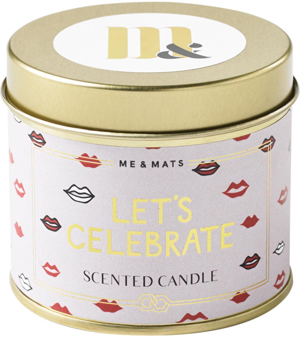 Duftkerze Let's Celebrate (Grapefruit, Patschuli & Wassermelone), Behälter: Metall, beschichtet, Goldfarben, Rosa, Rot, Weiß, Schwarz, Ø 8 x H 7 cm