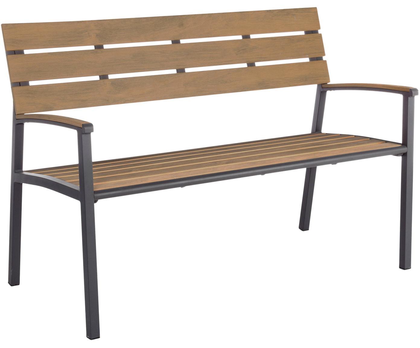 Panca da giardino Isak, Seduta: compensato rivestito, Struttura: alluminio verniciato a po, Antracite, marrone, Larg. 123 x Alt. 86 cm