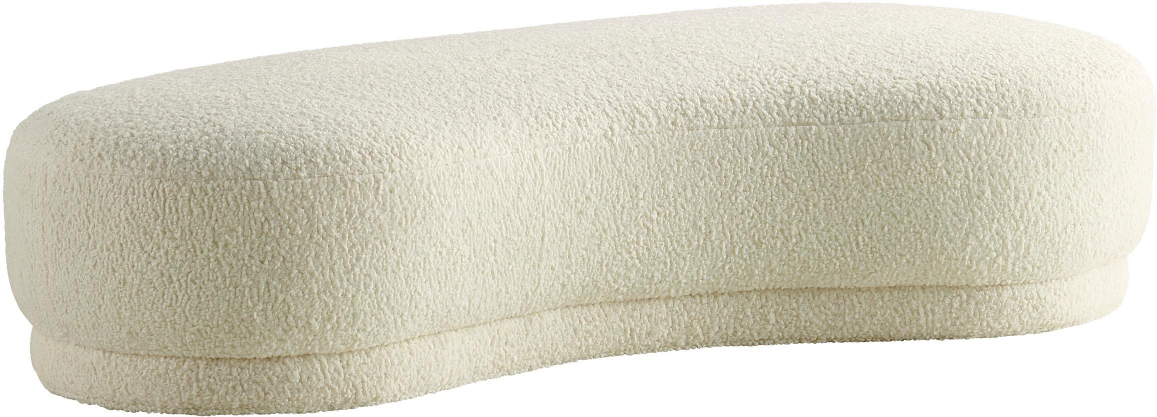 Teddy bank Austin, Bekleding: polyester, Frame: grenenhout, Crèmewit, 160 x 36 cm