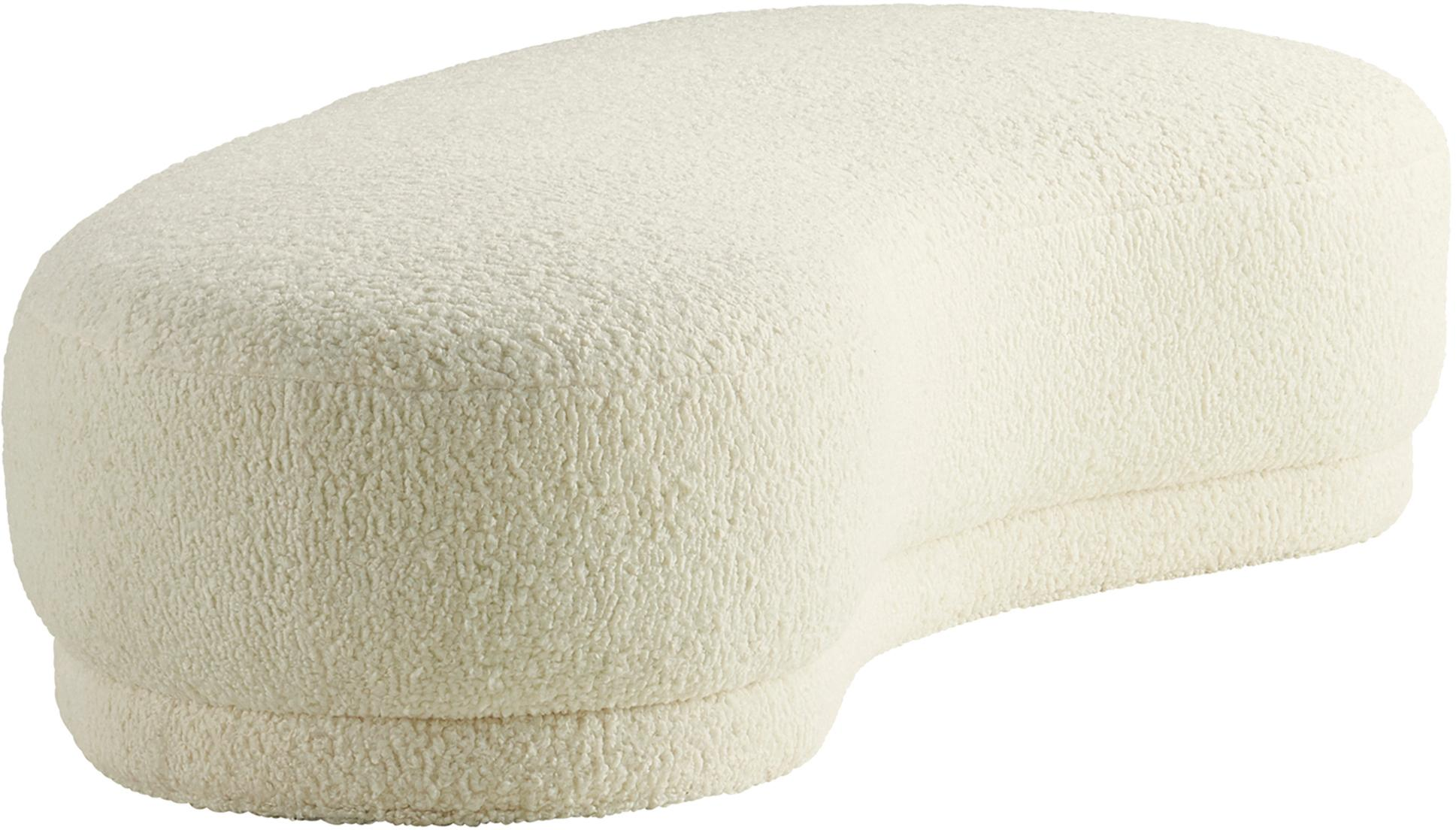 Teddy-Sitzbank Austin, Bezug: Polyester (Teddy), Gestell: Kiefernholz, Teddy Cremeweiß, 160 x 36 cm
