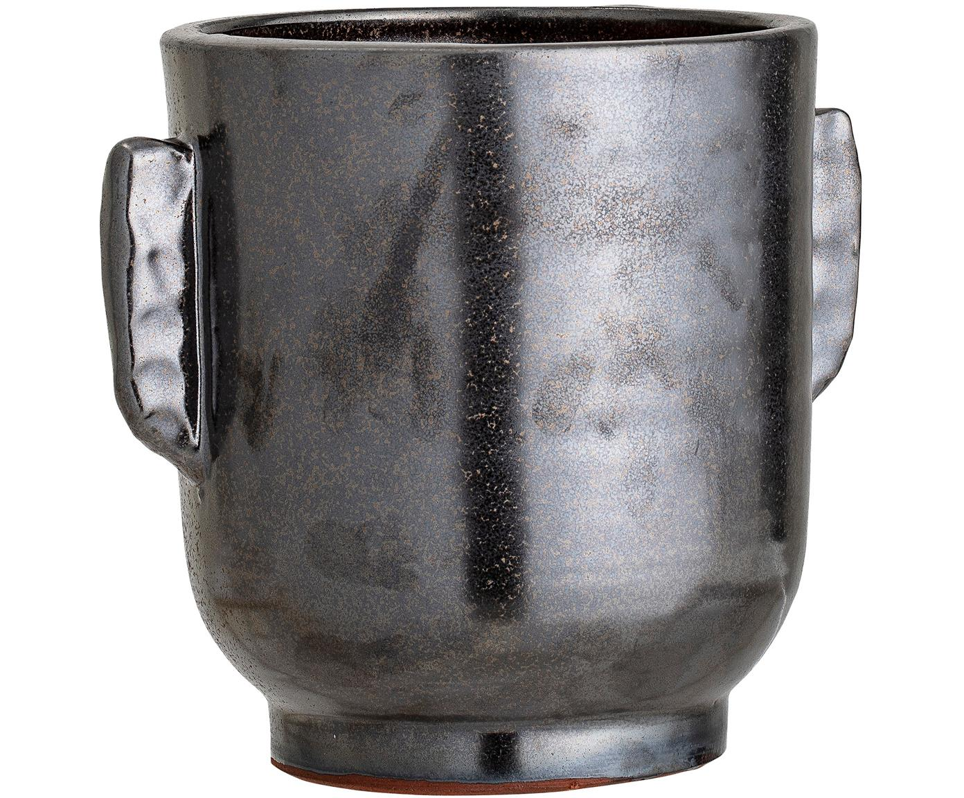 Handgefertigter Übertopf Misa aus Terrakotta, Terracotta, Schwarz, Ø 18 x H 20 cm