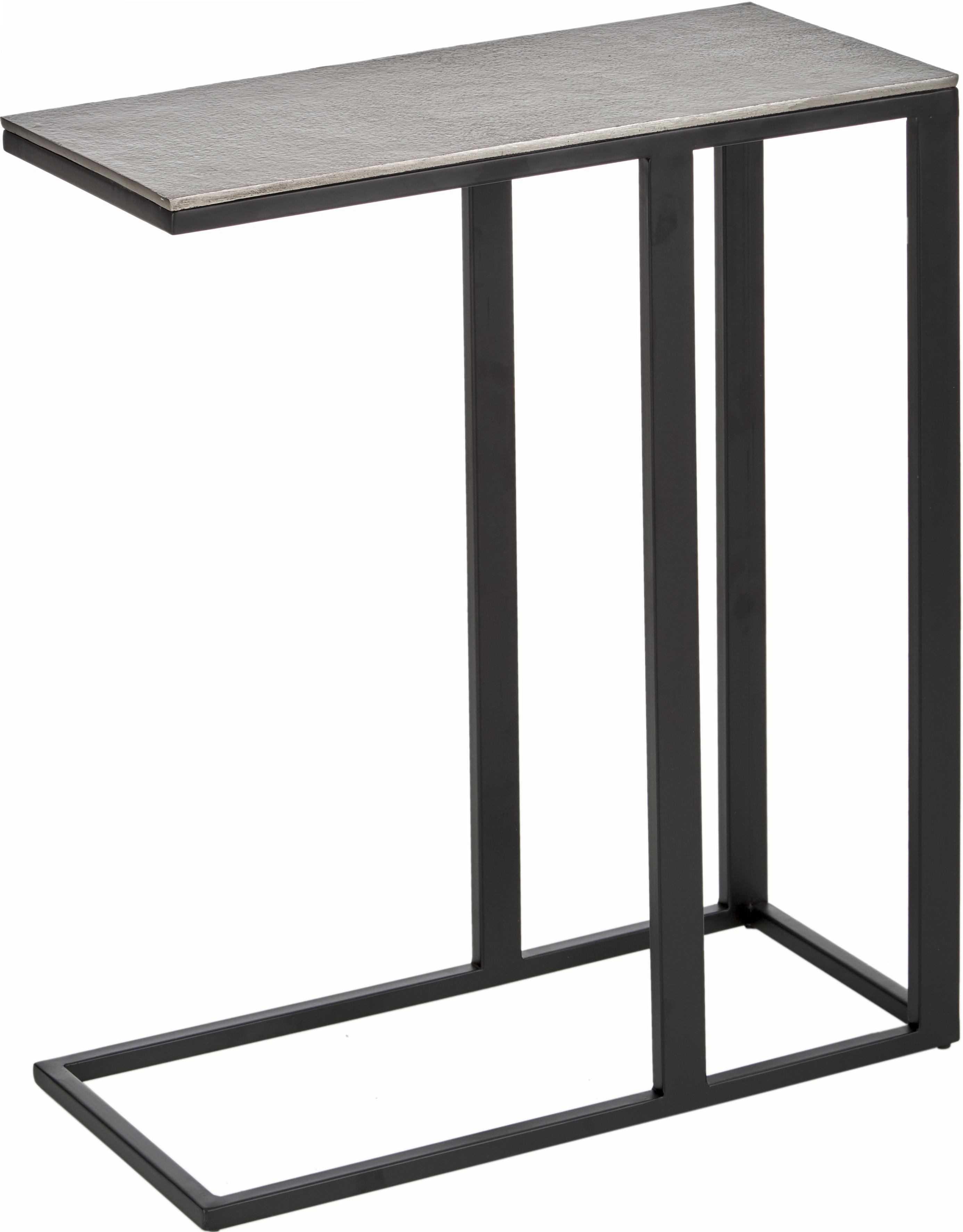 Mesa auxiliar Edge, estilo industrial, Tablero: metal recubierto, Estructura: metal con pintura en polv, Tablero: plateado con efecto envejecido Estructura: negro mate, An 43 x Al 52 cm