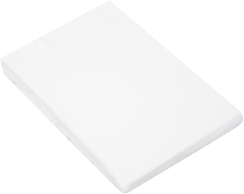 Prześcieradło z gumką z flaneli Biba, Biały, S 180 x D 200 cm