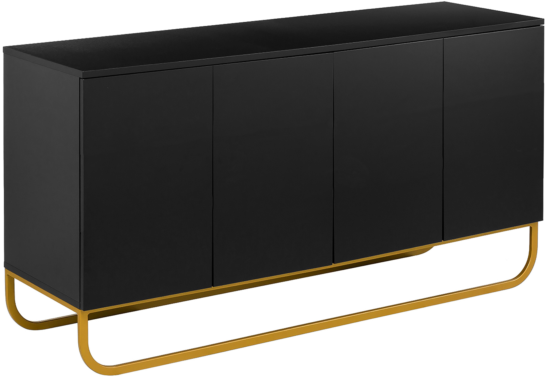 Klassisches Sideboard Sanford in Schwarz, Korpus: Mitteldichte Holzfaserpla, Fußgestell: Metall, pulverbeschichtet, Korpus: Schwarz, mattFußgestell: Goldfarben, matt, 160 x 83 cm