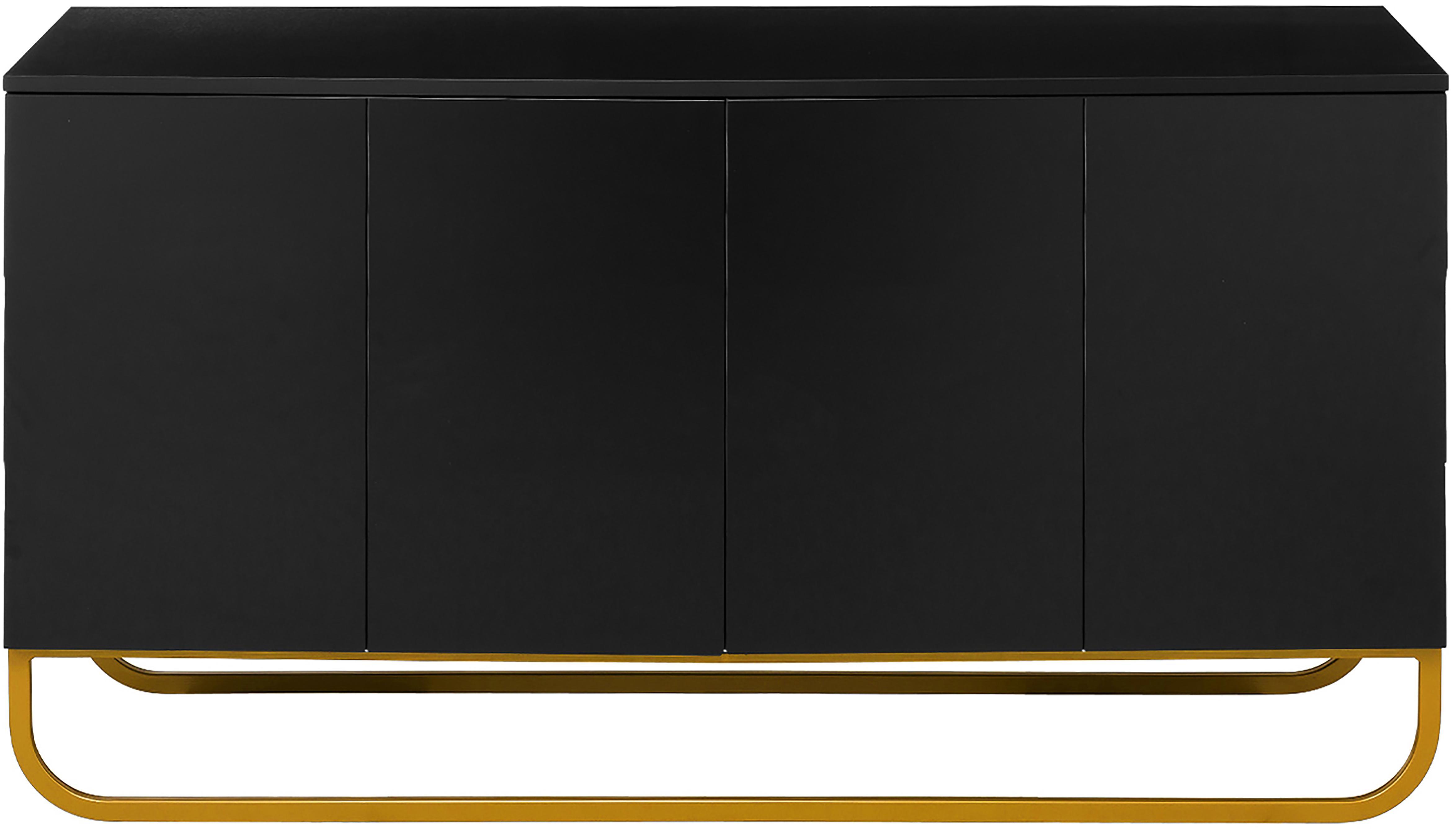 Klassiek dressoir Sanford in zwart, Frame: gelakt MDF, Frame: mat zwart. Onderstel: mat goudkleurig, 160 x 83 cm