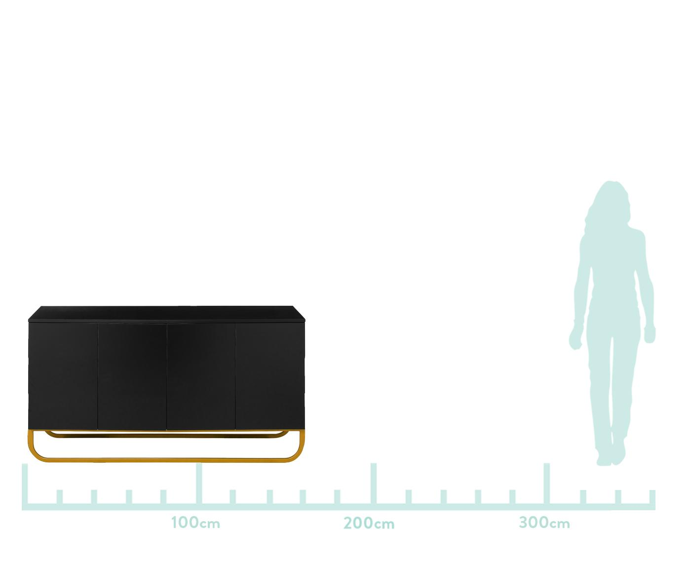 Komoda Sanford, Korpus: płyta pilśniowa średniej , Korpus i tył: czarny, matowy Podstawa: odcienie złotego, matowy, S 160 x W 83 cm