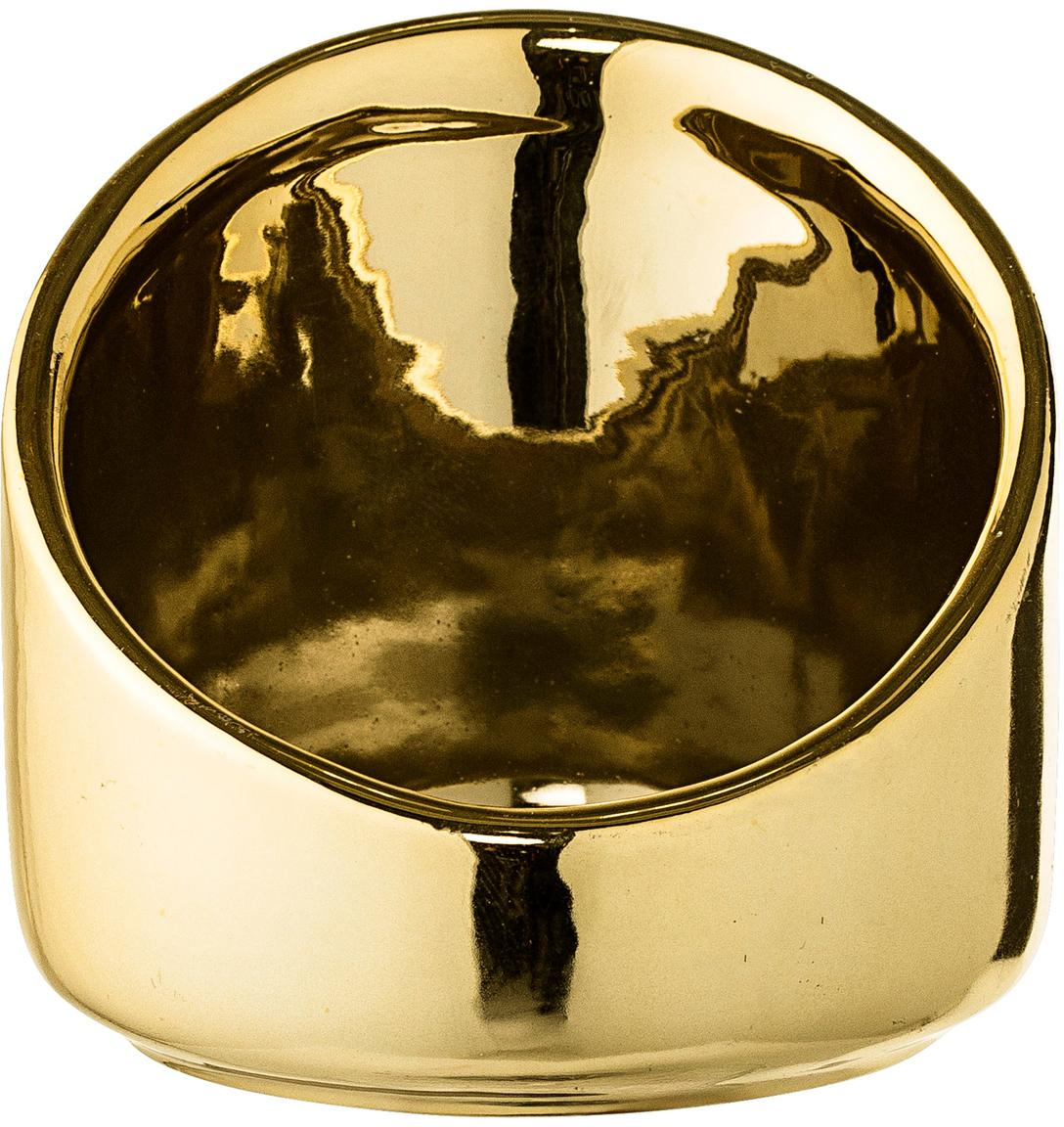 Waxinelichthouder Mara, Keramiek, Goudkleurig, Ø 8 x H 8 cm