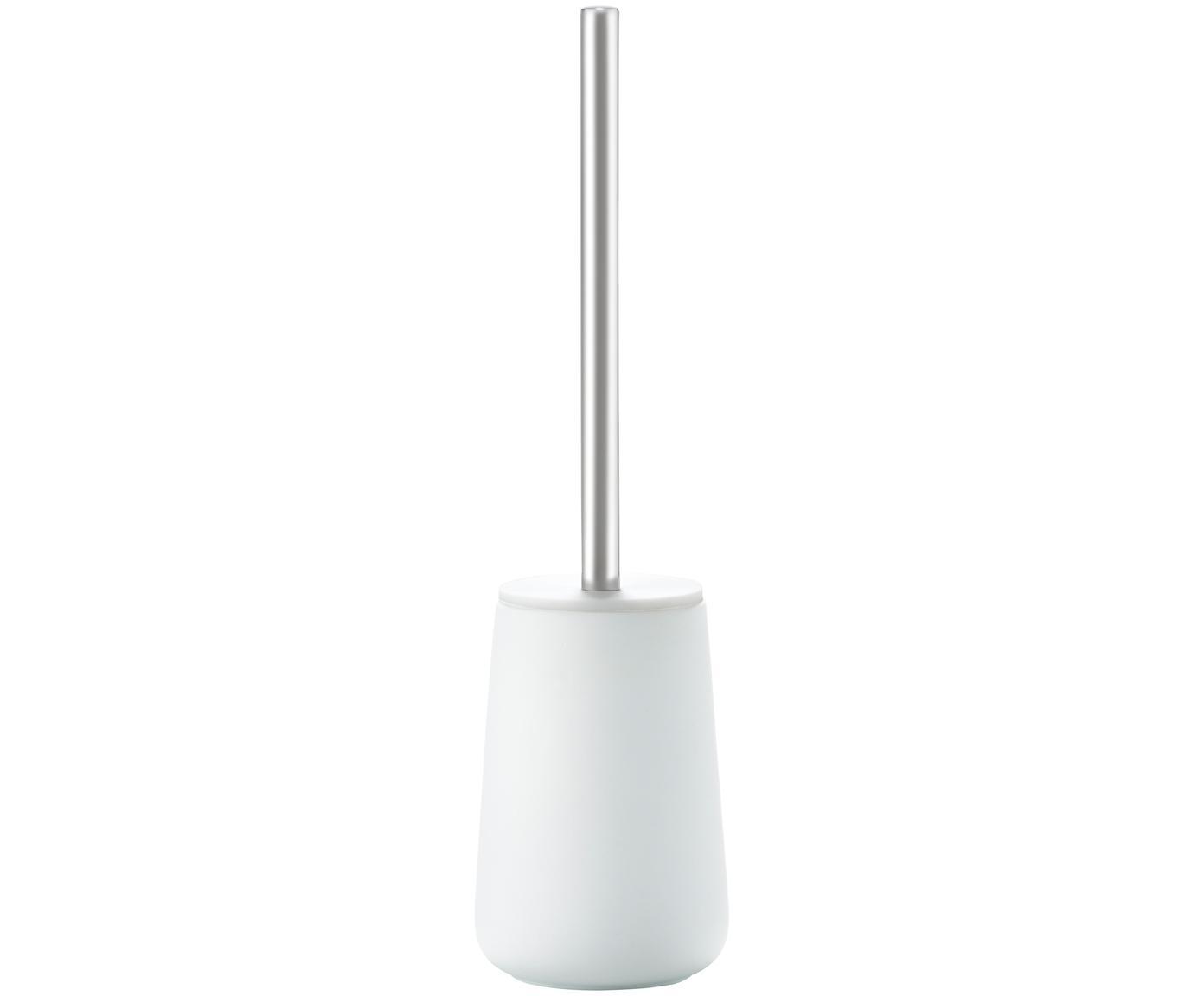 Scopino Brush, Contenitore: porcellana, Bianco opaco, acciaio inossidabile, Ø 10 x Alt. 43 cm