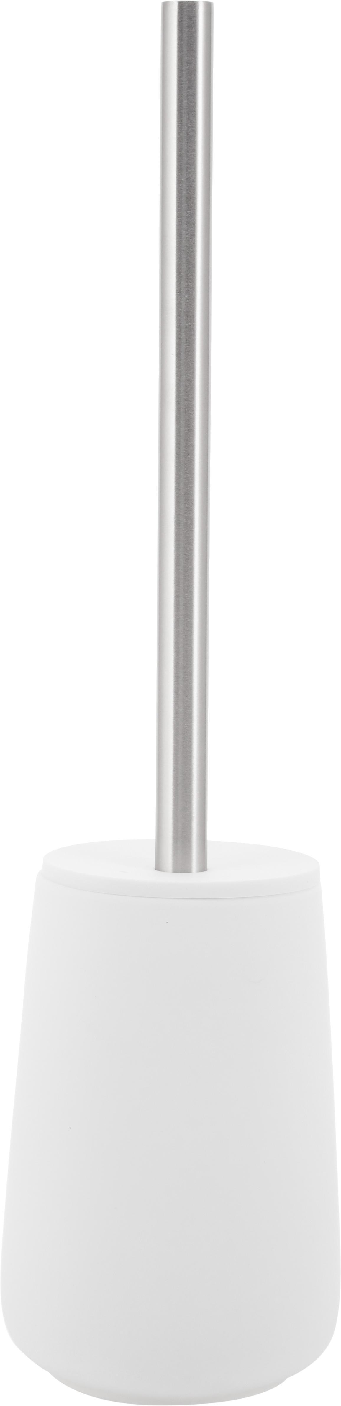 Toilettenbürste Nova mit Porzellan-Behälter, Behälter: Porzellan, Griff: Edelstahl, Weiss matt, Edelstahl, Ø 10 x H 43 cm