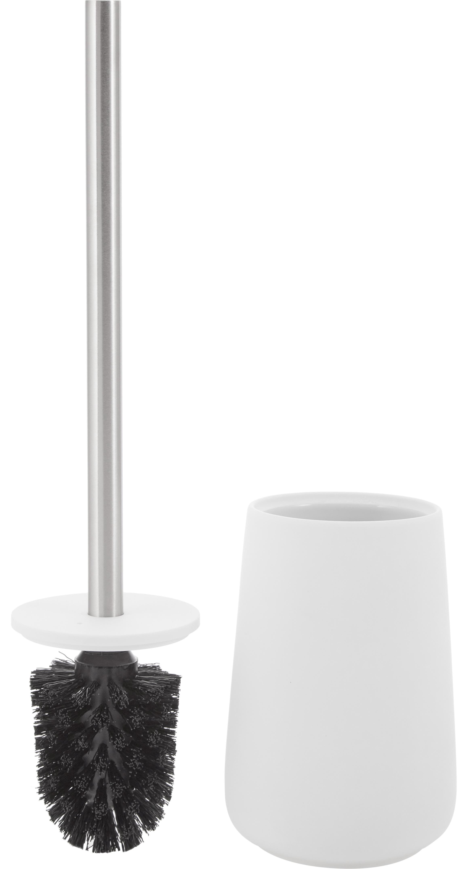 Szczotka toaletowa Brush, Biały matowy, stal szlachetna, Ø 10 x W 43 cm