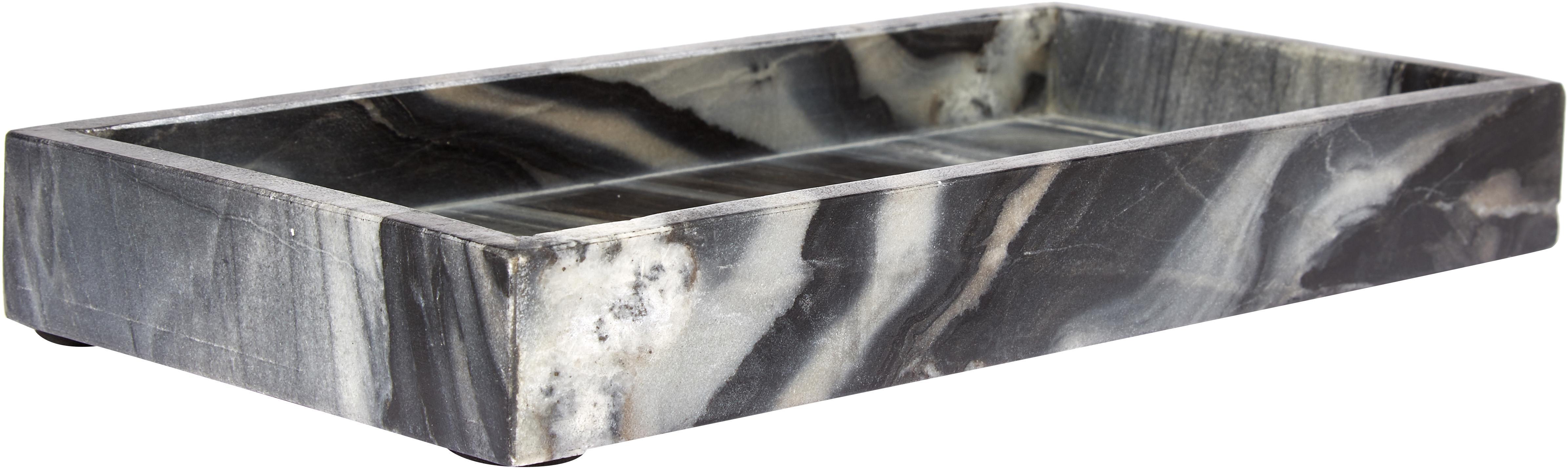 Marmor-Tablett Bifrost, Marmor, Grau, marmoriert, B 30 x T 15 cm
