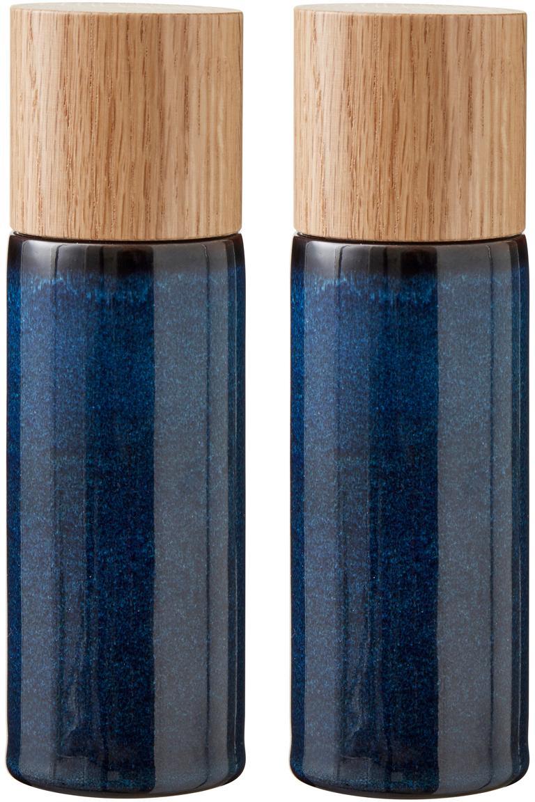 Steingut Salz- und Pfeffermühle Bizz mit Holzdeckel, 2er-Set, Deckel: Eichenholz, Mahlwerk: Keramik, Dunkelblau, Braun, Holz, Ø 5 x H 17 cm