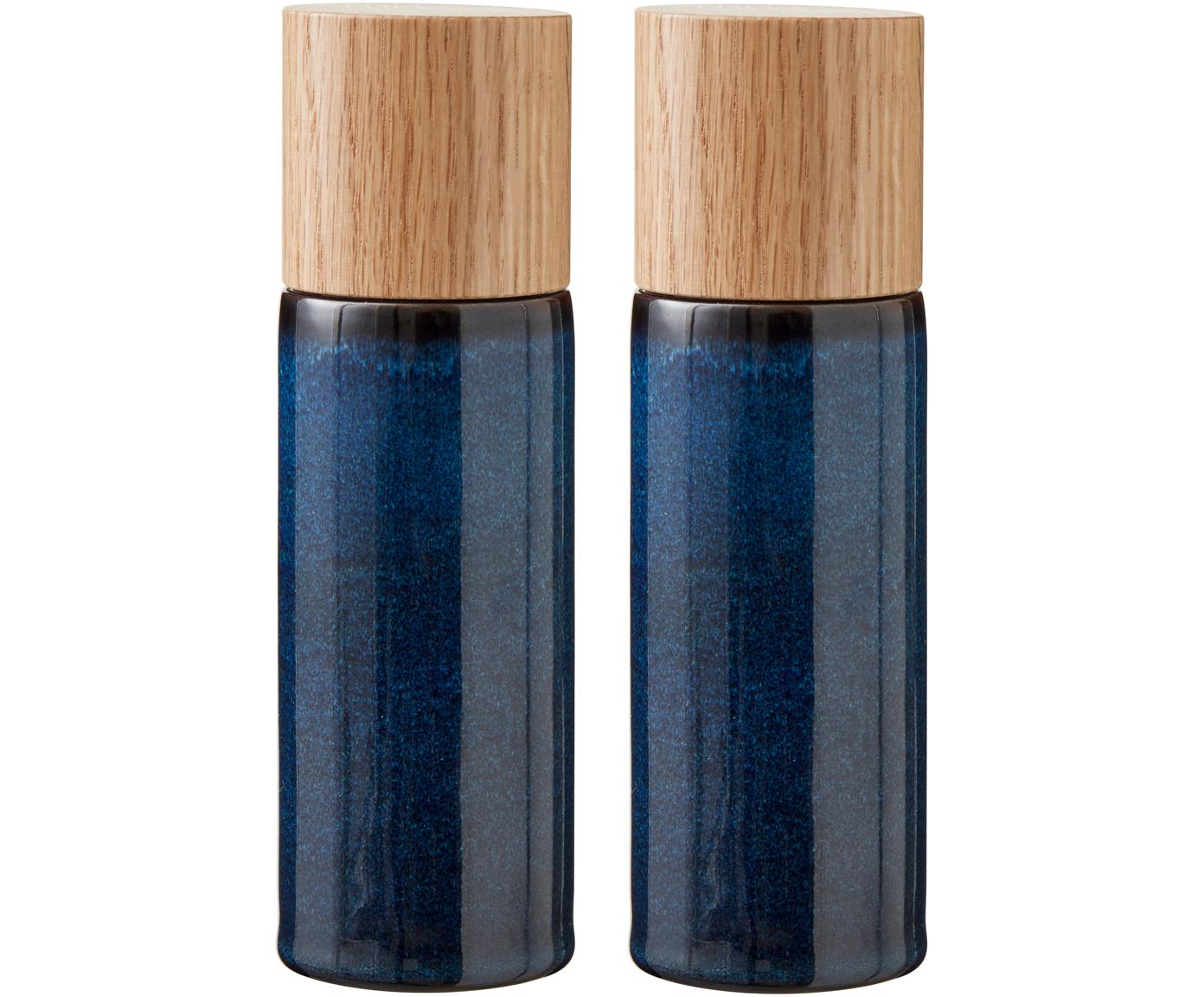 Zout- en peperstrooier-set Bizz, 2-delig, Deksel: hout, Donkerblauw, bruin, hout, Ø 5 x H 17 cm