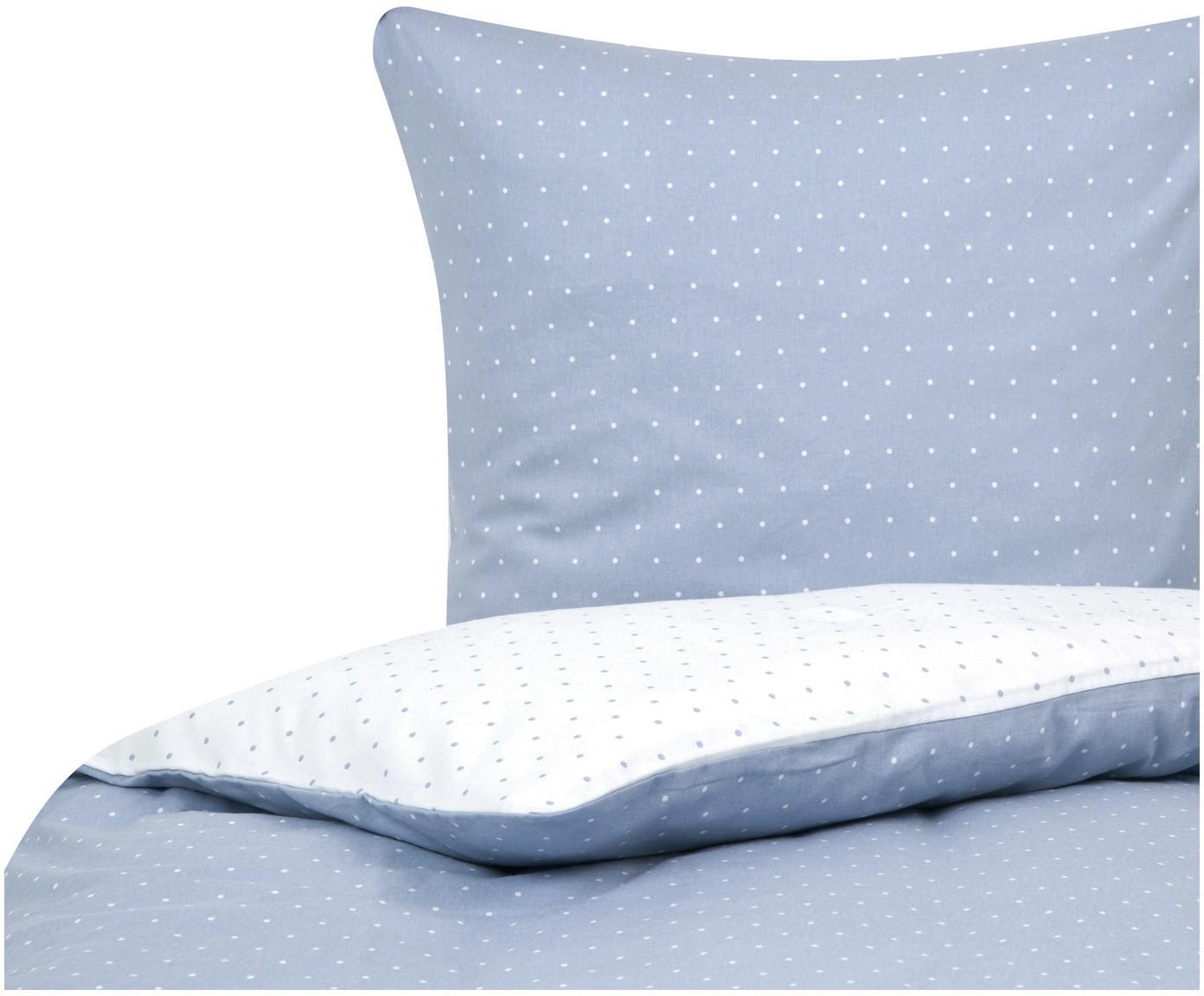Flanell-Wendebettwäsche Betty, gepunktet, Webart: Flanell Flanell ist ein s, Hellblau, Weiß, 135 x 200 cm + 1 Kissen 80 x 80 cm