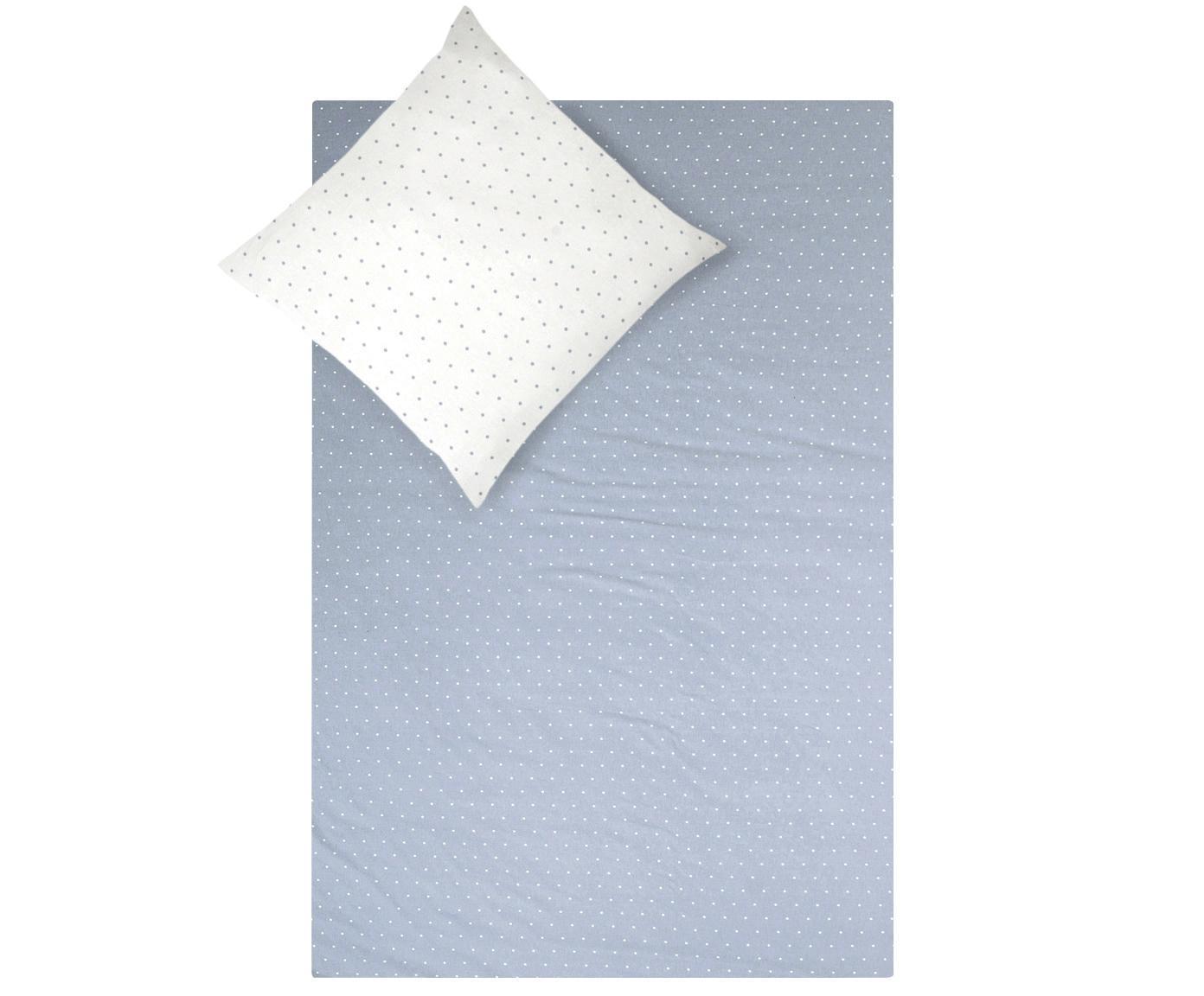 Flanell-Wendebettwäsche Betty, gepunktet, Webart: Flanell Flanell ist ein s, Hellblau, Weiss, 135 x 200 cm + 1 Kissen 80 x 80 cm