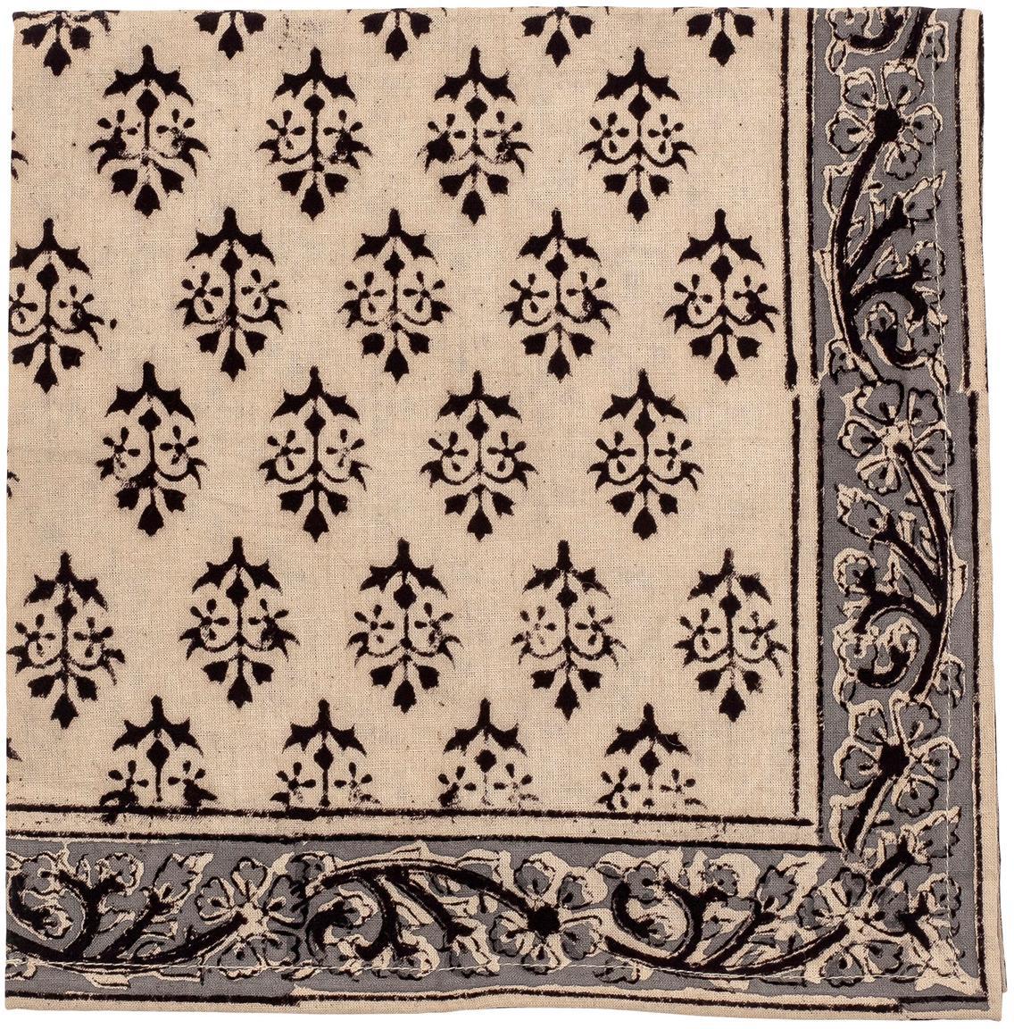 Baumwoll-Servietten Kira, 4 Stück, Baumwolle, Beige, Schwarz, 50 x 50 cm