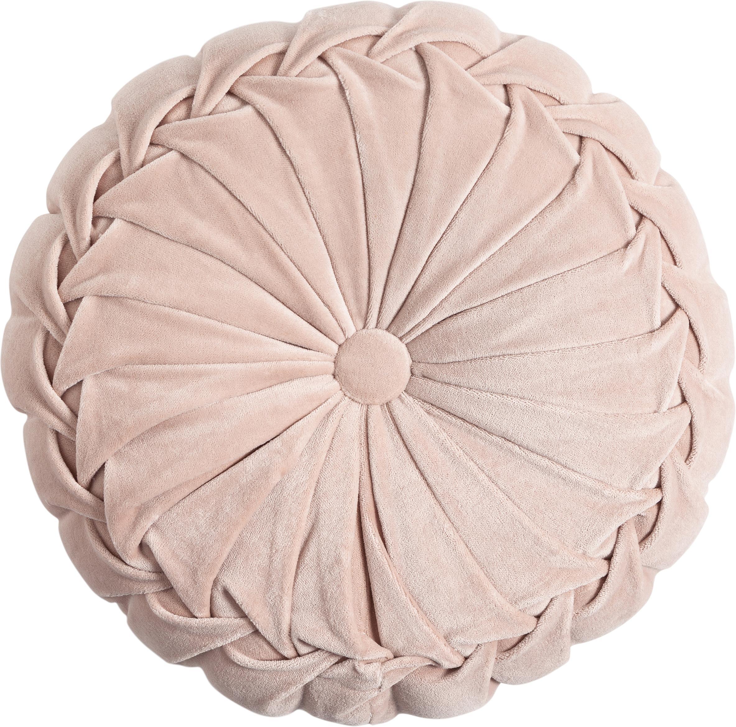 Rond fluwelen kussen Kanan met plooien, met vulling, Poederroze, Ø 40 cm
