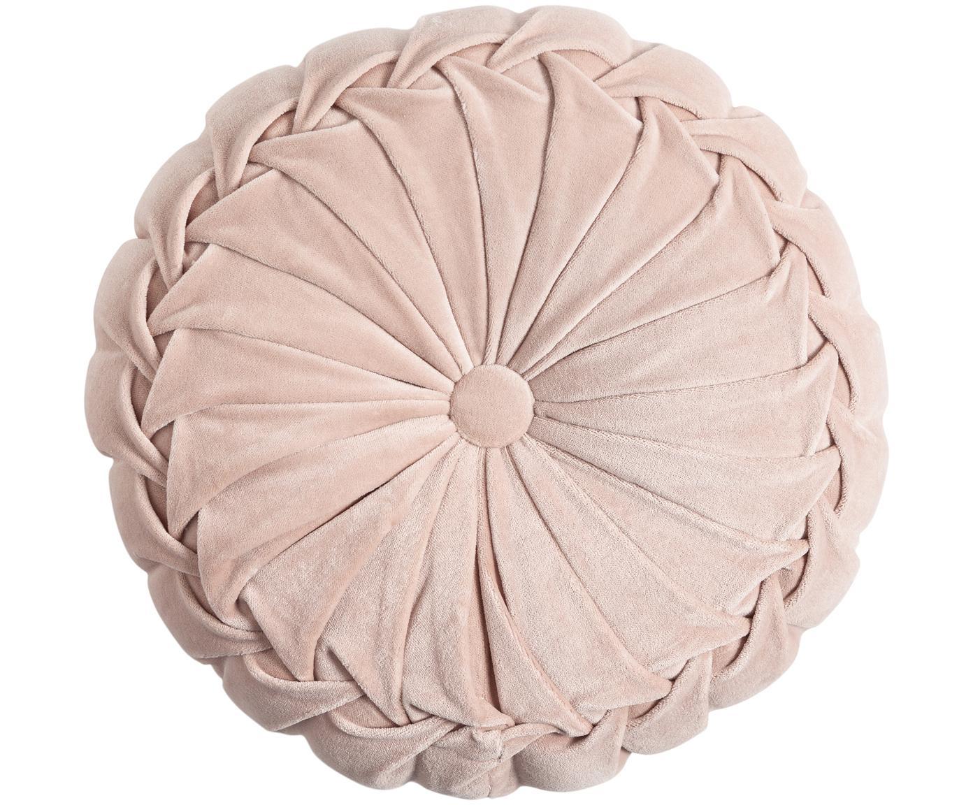 Okrągła poduszka  z aksamitu z wypełnieniem Kanan, Tapicerka: 100% aksamit bawełniany, Pudroworóżowy, Ø 40 cm